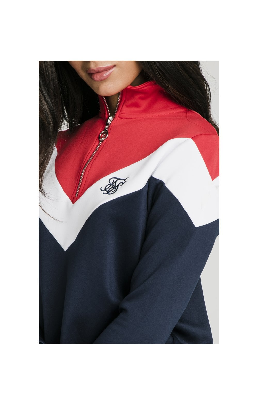 SikSilk Retro Sport Track Top - Navy, Red & White (1)
