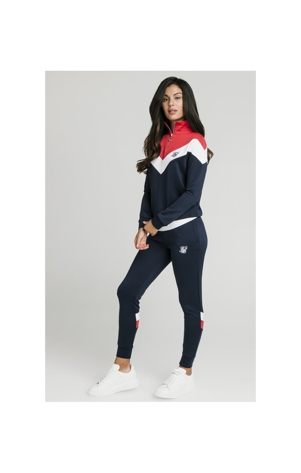 SikSilk Retro Sport Track Top - Navy, Red & White (2)