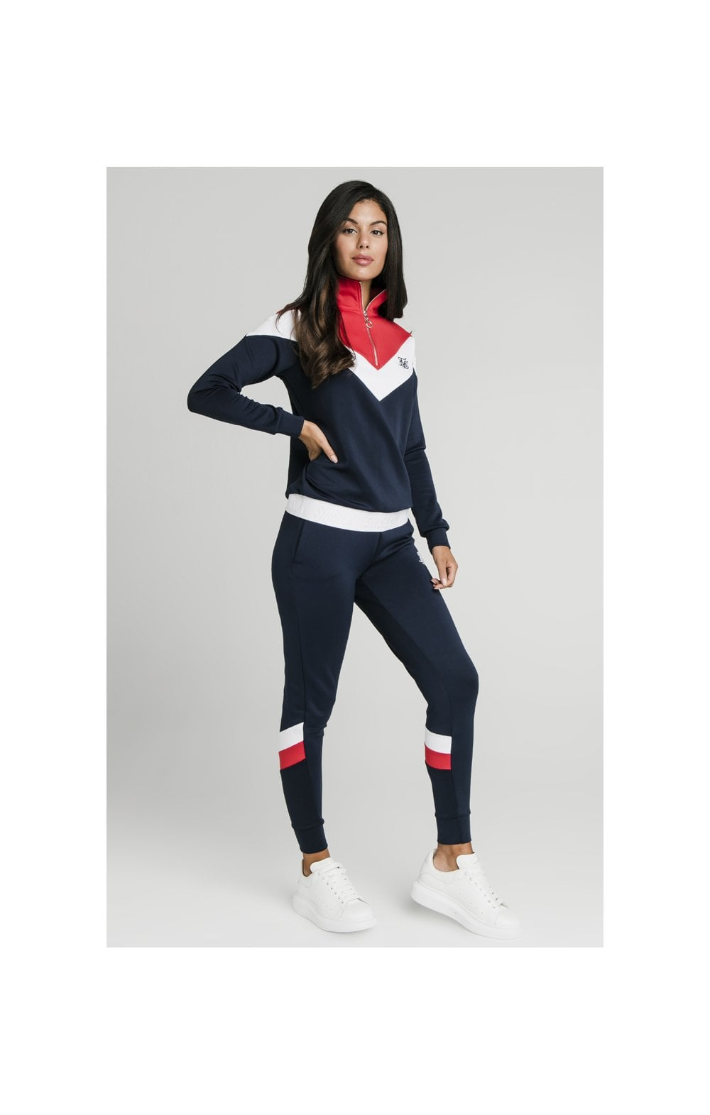 SikSilk Retro Sport Track Top - Navy, Red & White (3)