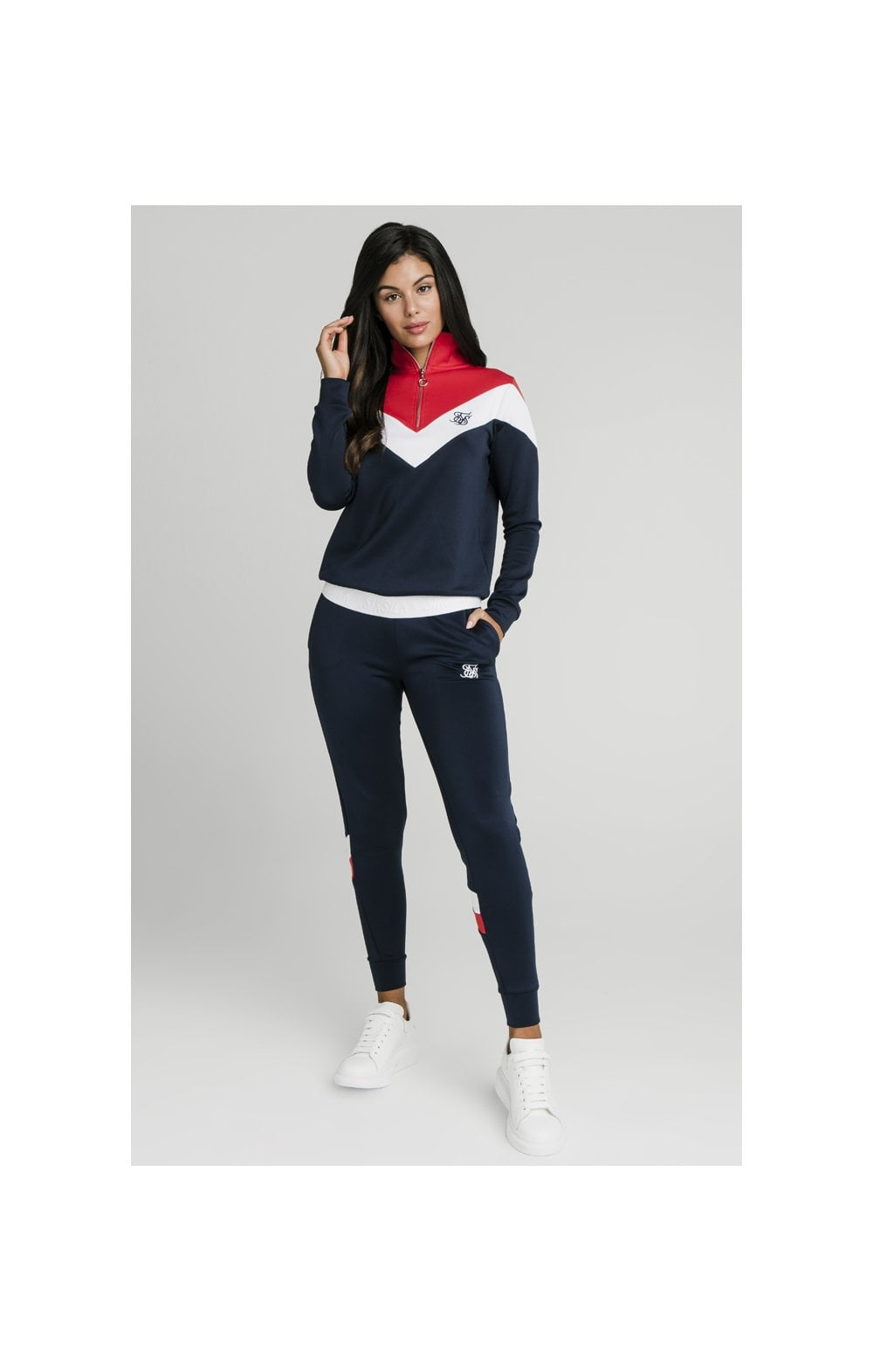 SikSilk Retro Sport Track Top - Navy, Red & White (4)