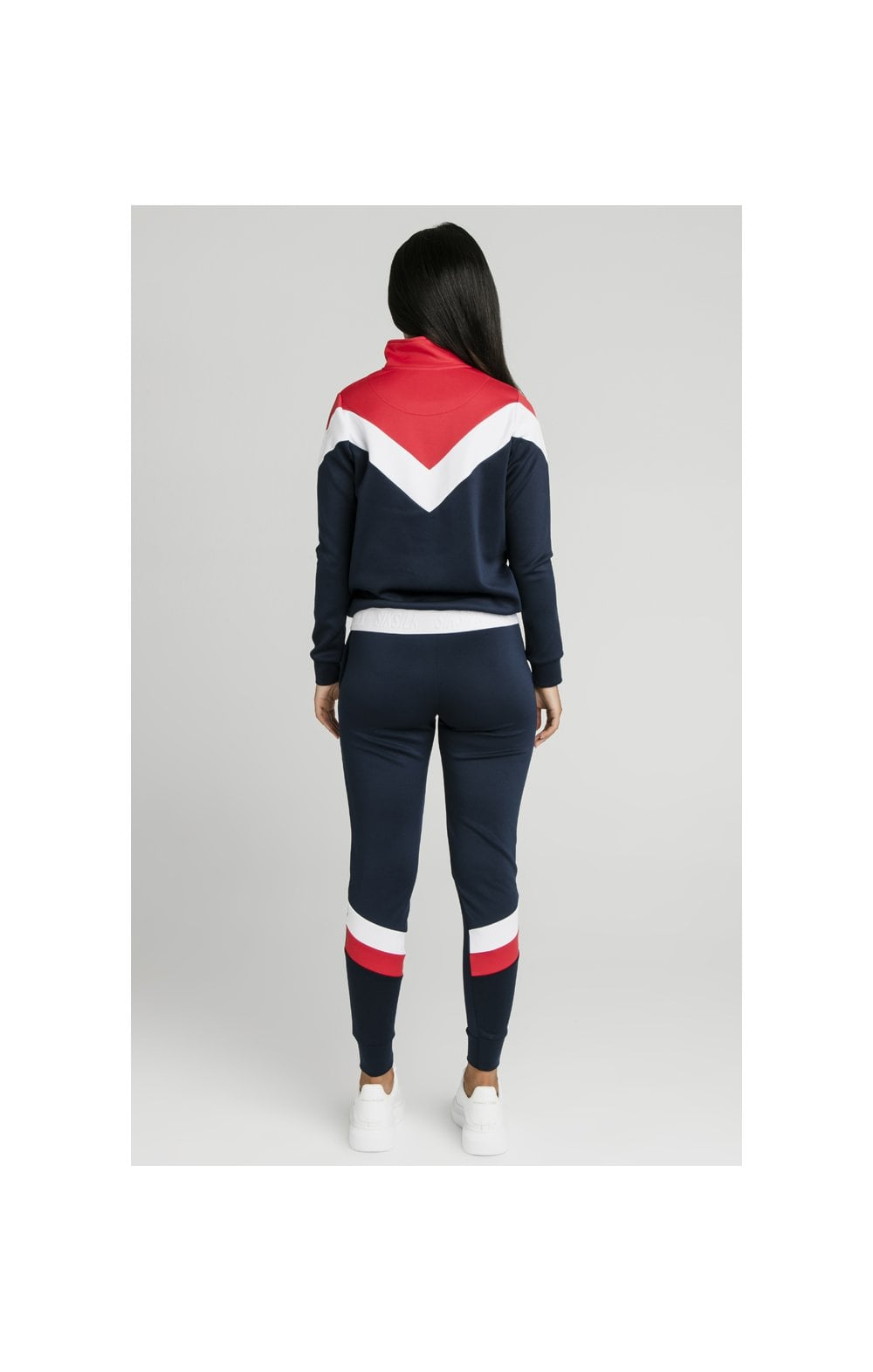 SikSilk Retro Sport Track Top - Navy, Red & White (5)