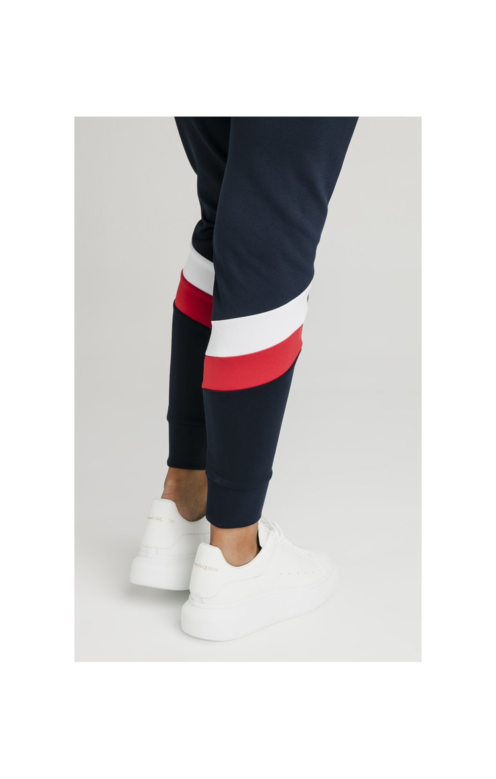 SikSilk Retro Sport Taped Joggers - Navy (6)
