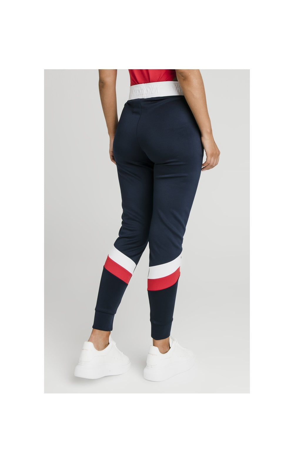SikSilk Retro Sport Taped Joggers - Navy (7)