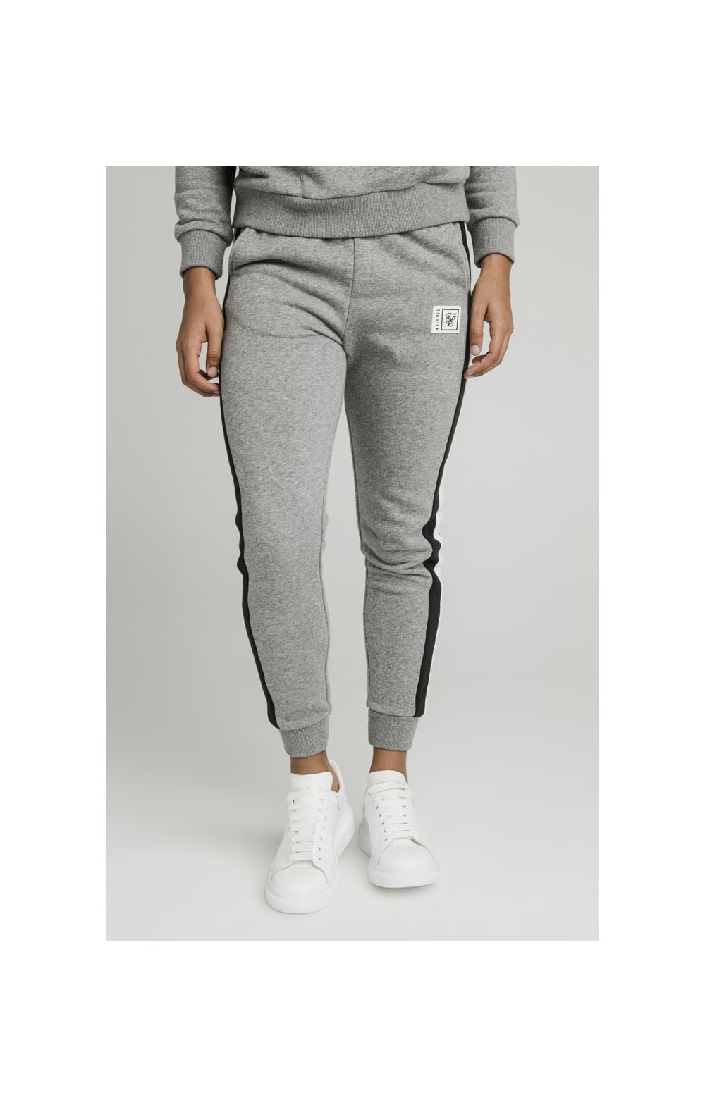 SikSilk Sports Luxe Track Pants - Grey Marl