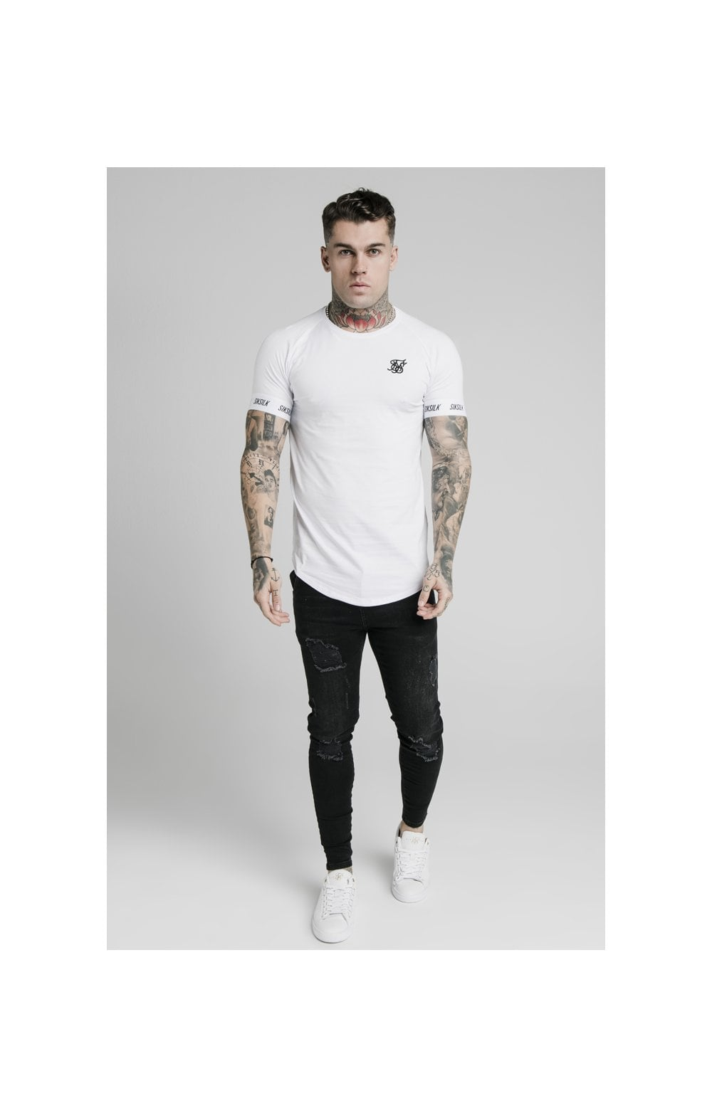 Load image into Gallery viewer, SikSilk S/S Raglan Tech Tee - White (1)