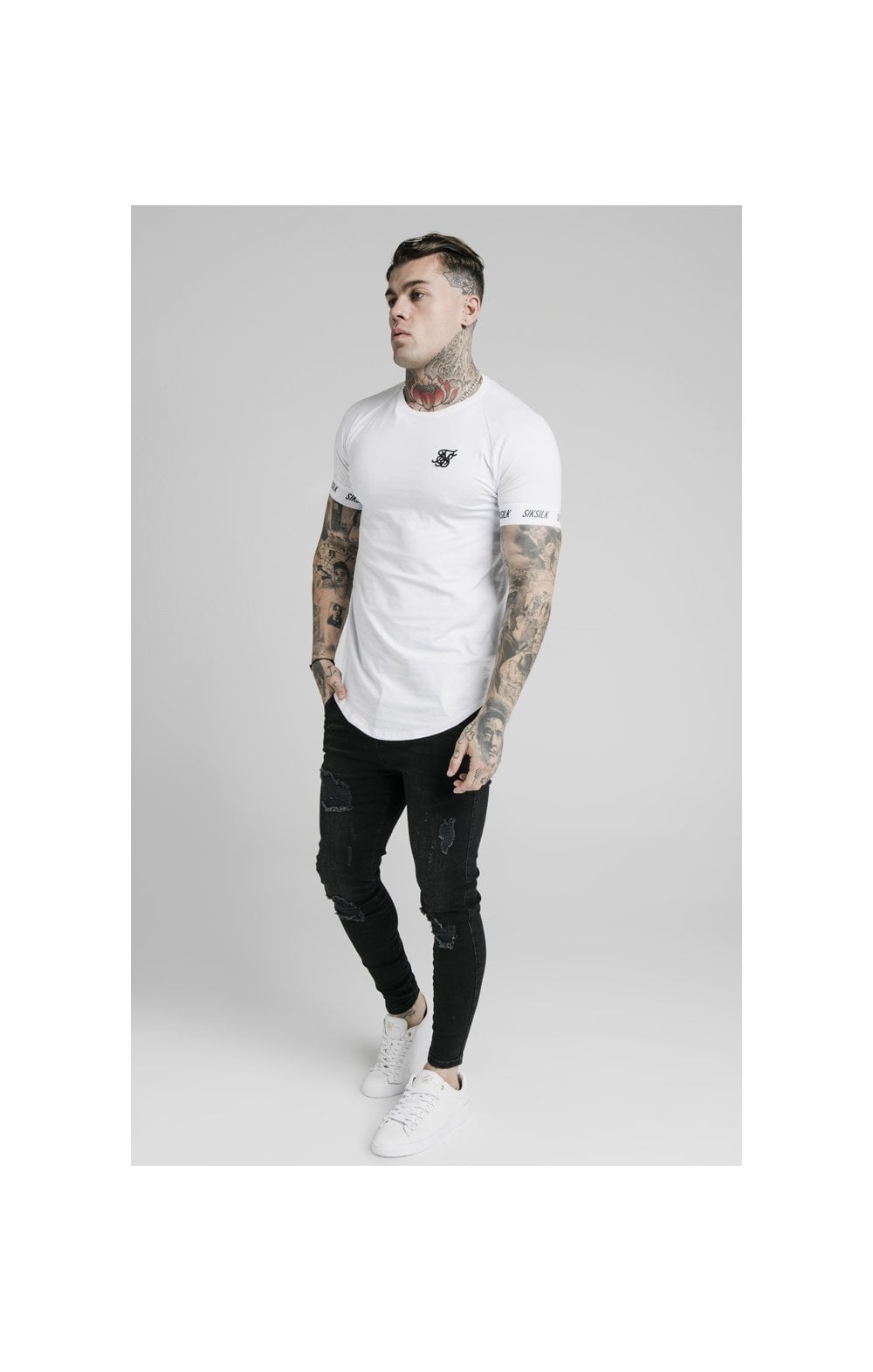 Load image into Gallery viewer, SikSilk S/S Raglan Tech Tee - White (3)