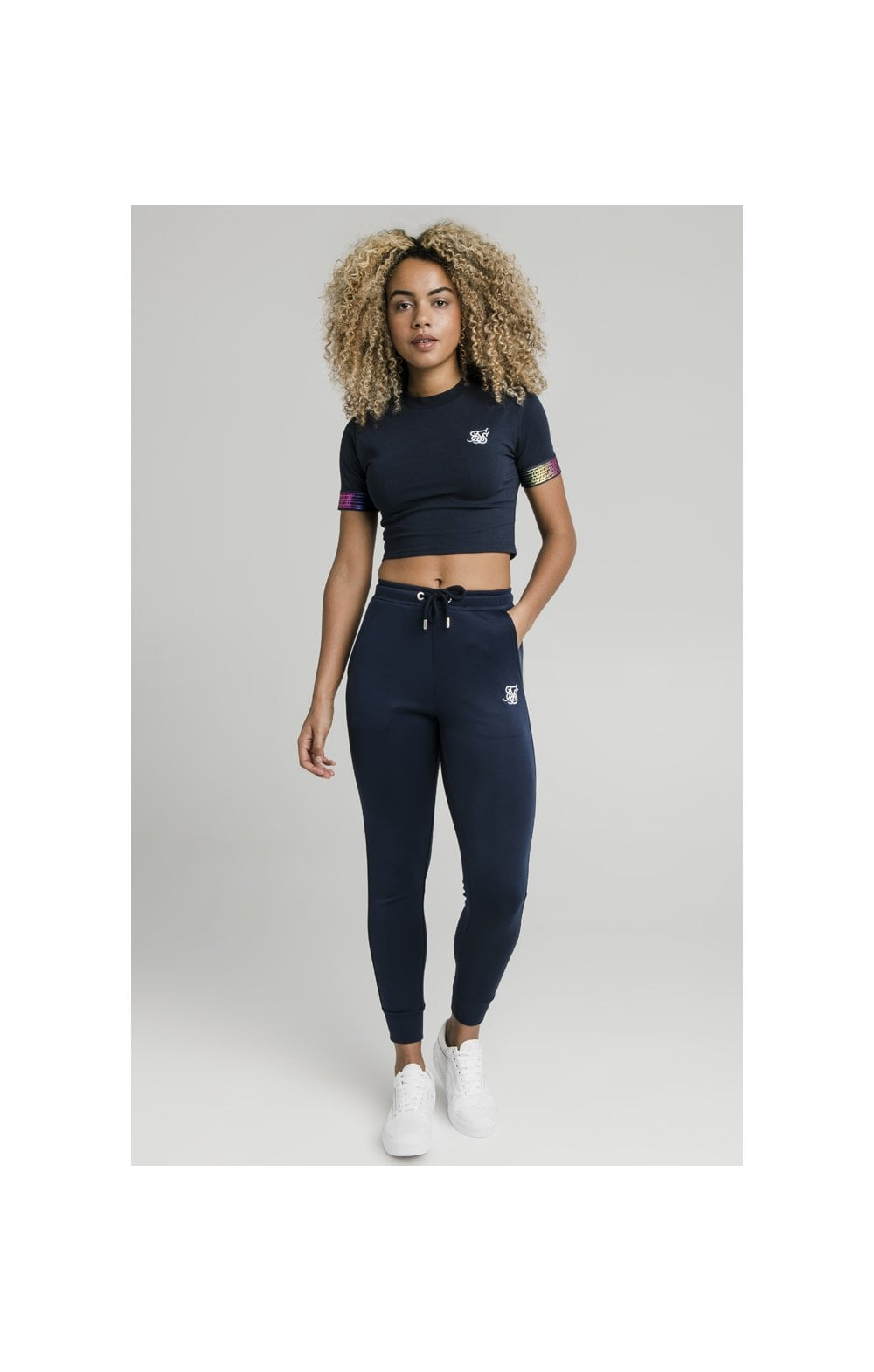 Load image into Gallery viewer, SikSilk Rainbow Runner Track Pants - Navy (2)