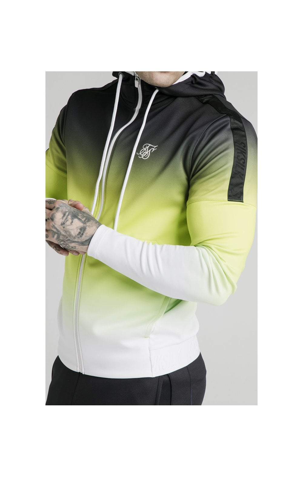 SikSilk Tri-Fade Agility Zip Through Hoodie - Black, Fluro & White