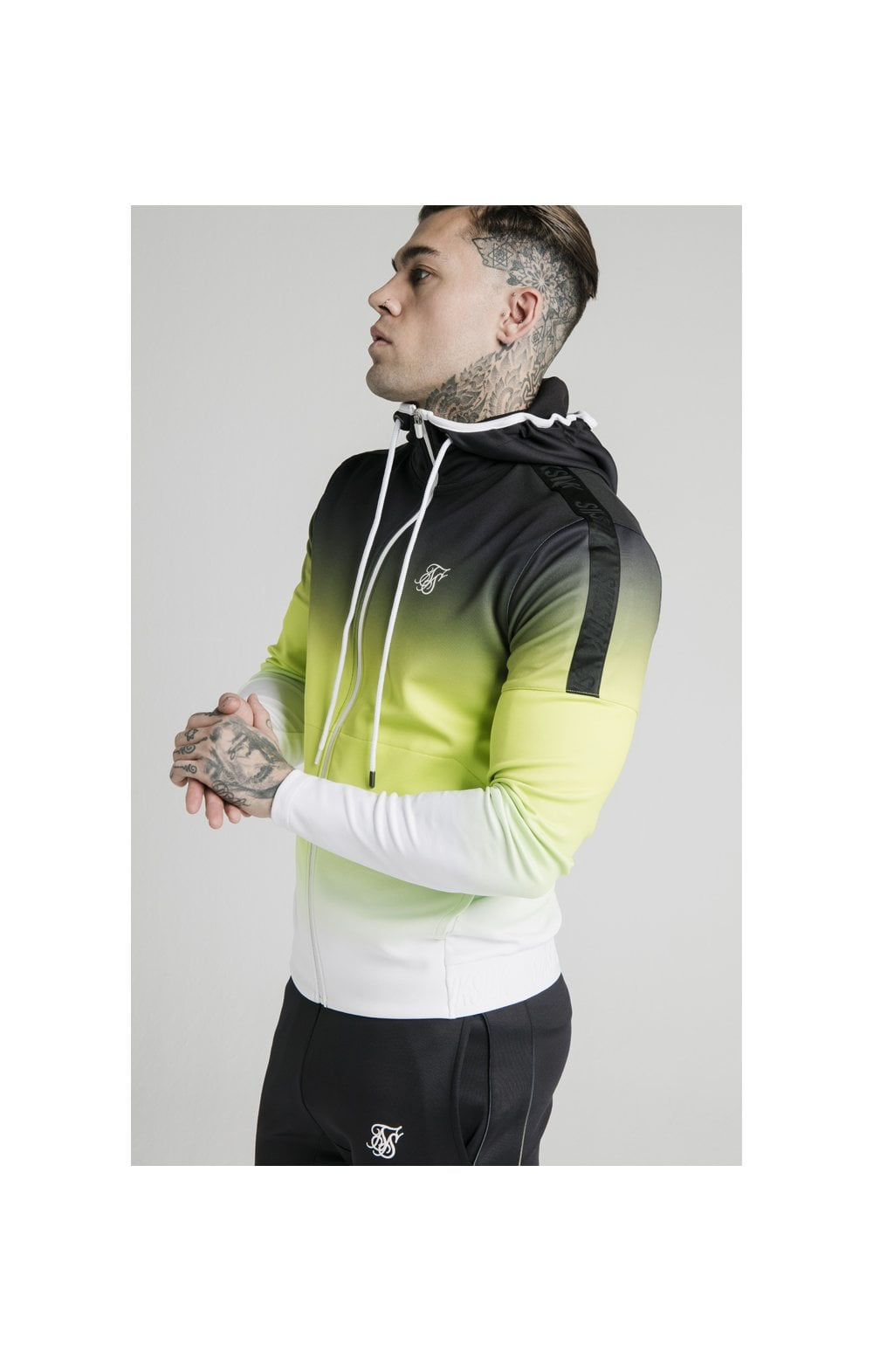 SikSilk Tri-Fade Agility Zip Through Hoodie - Black, Fluro & White (1)