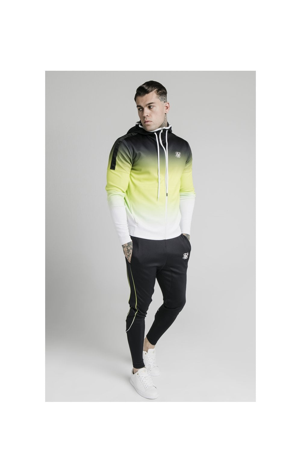 SikSilk Tri-Fade Agility Zip Through Hoodie - Black, Fluro & White (2)