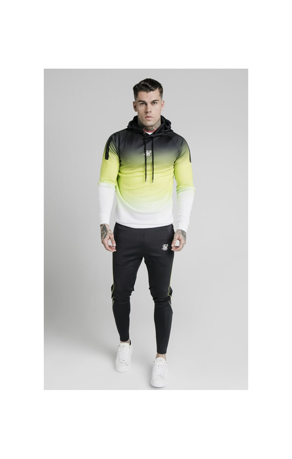 Load image into Gallery viewer, SikSilk Vapour Tri-Fade Overhead Hoodie - Black, Fluro & White