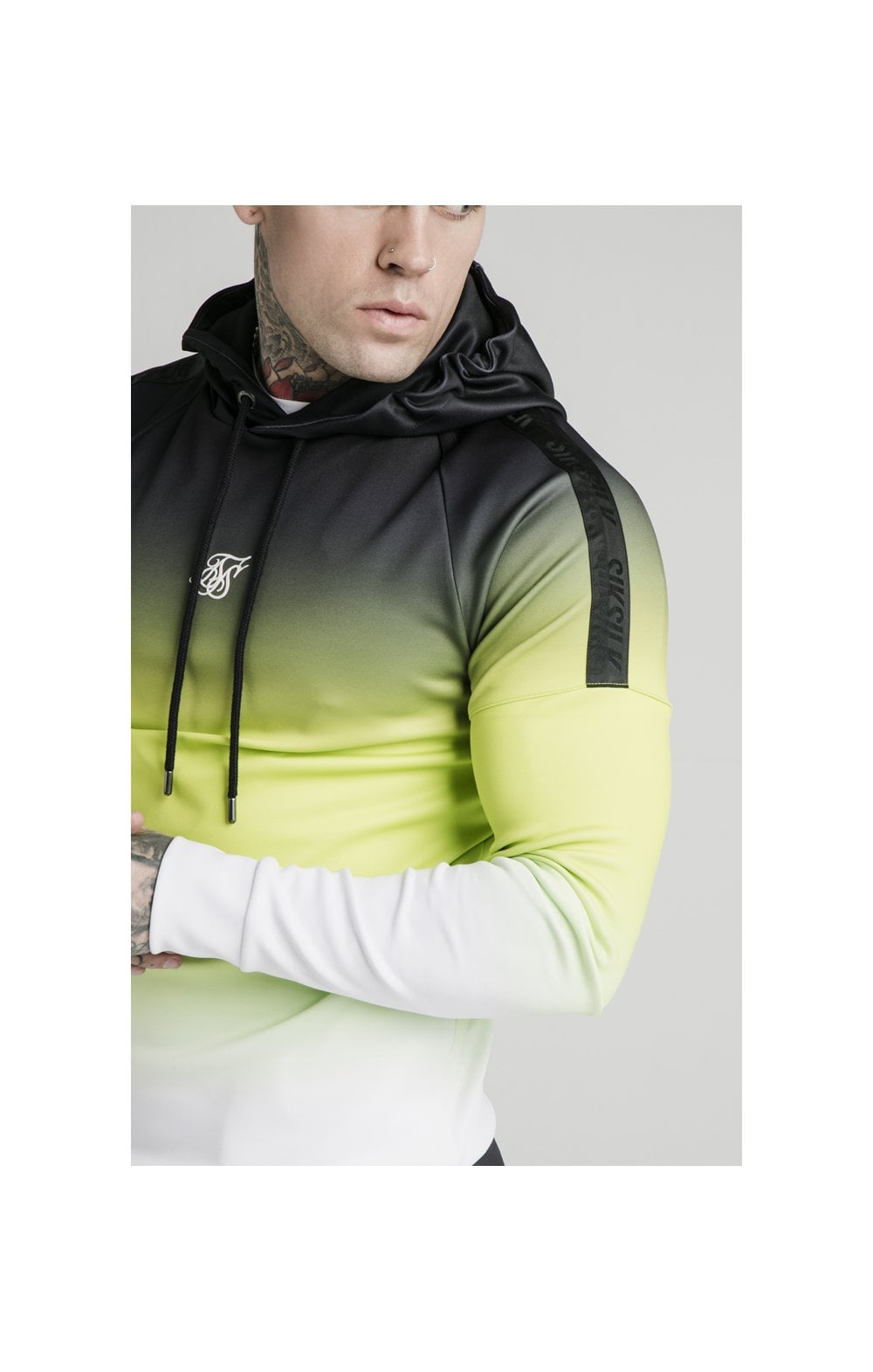 Load image into Gallery viewer, SikSilk Vapour Tri-Fade Overhead Hoodie - Black, Fluro & White (1)
