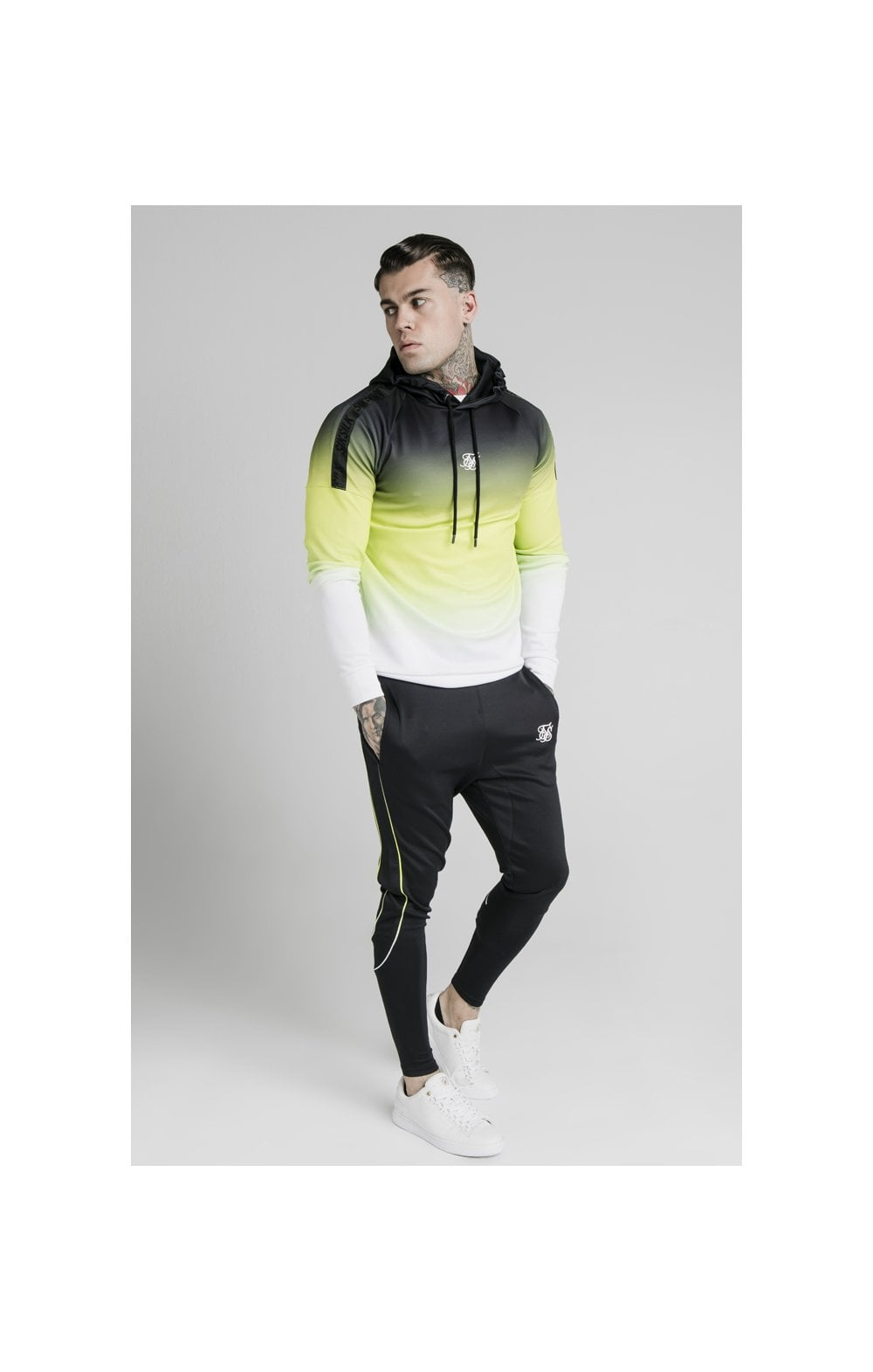 Load image into Gallery viewer, SikSilk Vapour Tri-Fade Overhead Hoodie - Black, Fluro & White (2)