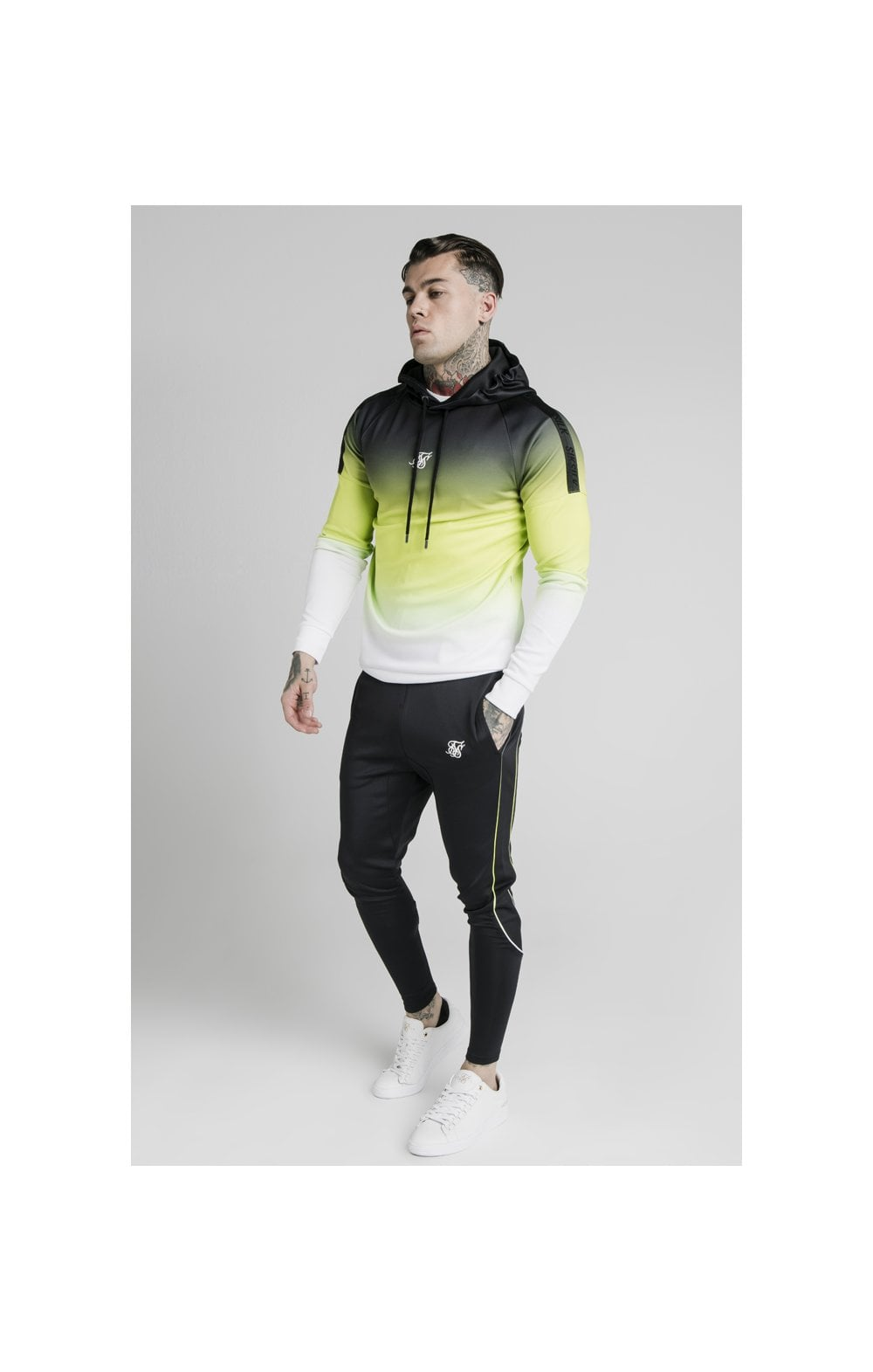 Load image into Gallery viewer, SikSilk Vapour Tri-Fade Overhead Hoodie - Black, Fluro & White (3)