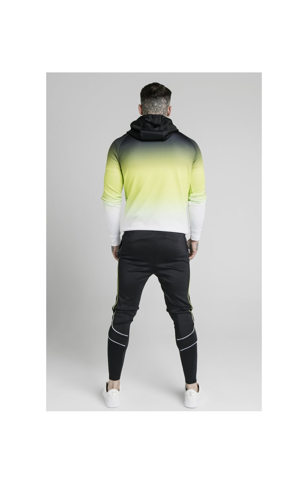 Load image into Gallery viewer, SikSilk Vapour Tri-Fade Overhead Hoodie - Black, Fluro & White (4)