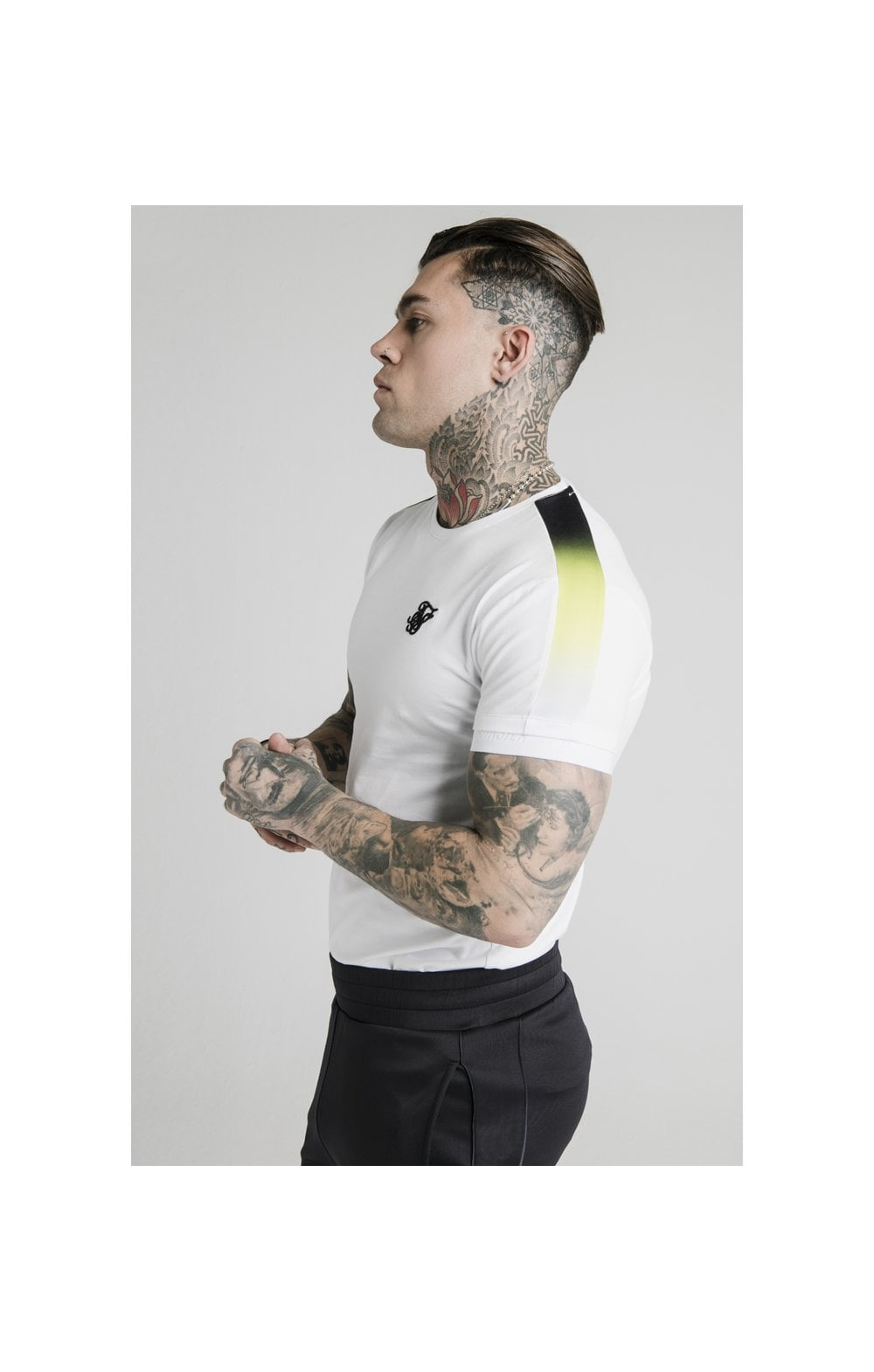 SikSilk S/S Fade Panel Tech Tee - White