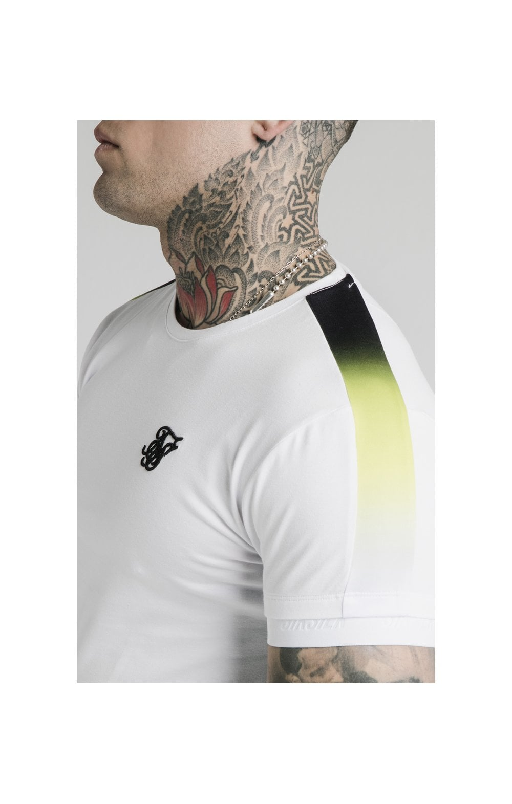 SikSilk S/S Fade Panel Tech Tee - White (1)