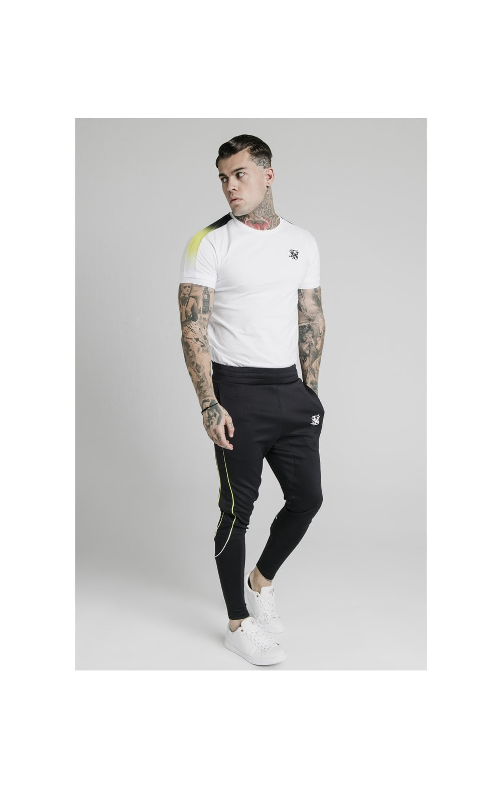 SikSilk S/S Fade Panel Tech Tee - White (2)