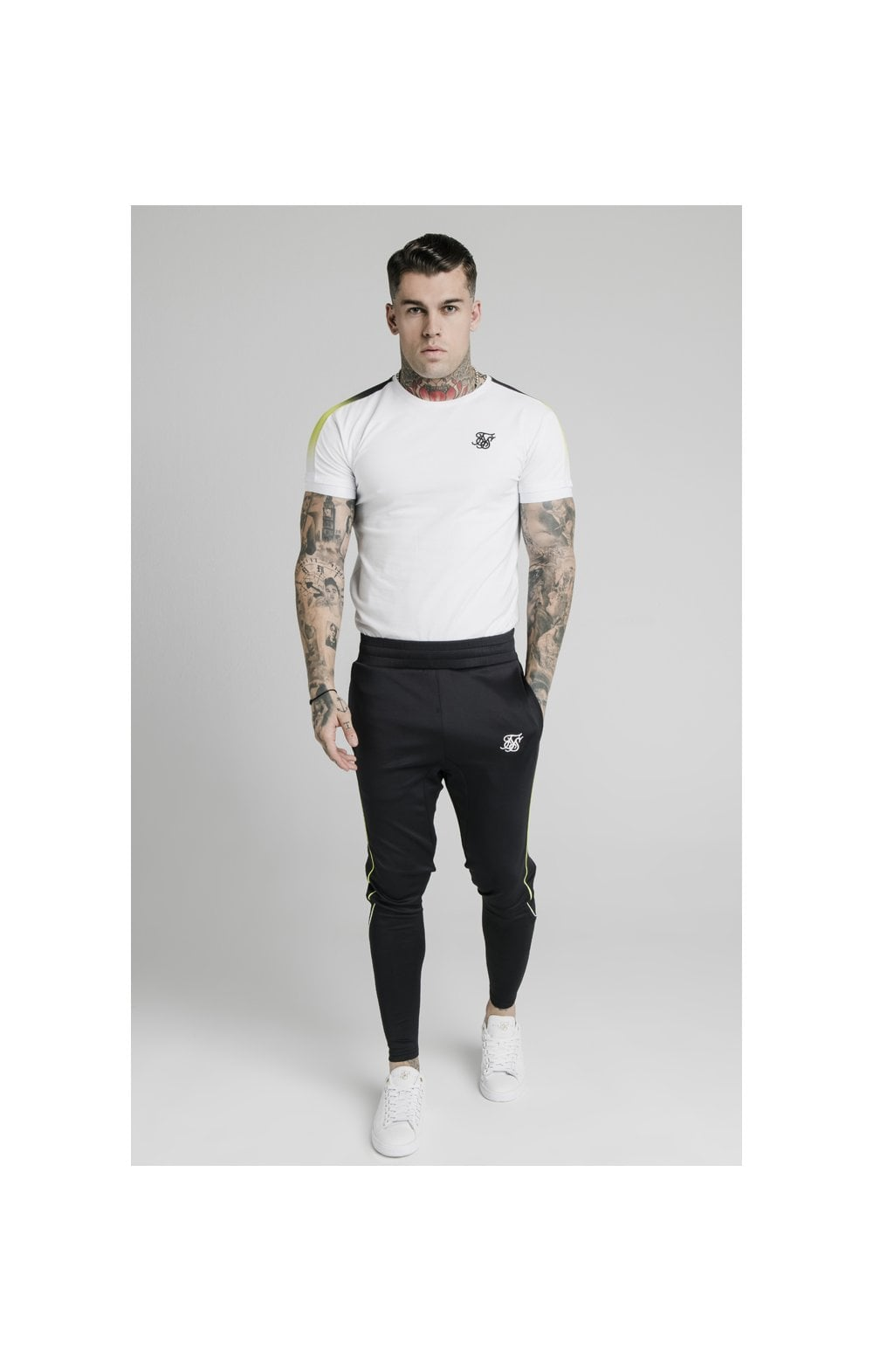 SikSilk S/S Fade Panel Tech Tee - White (3)