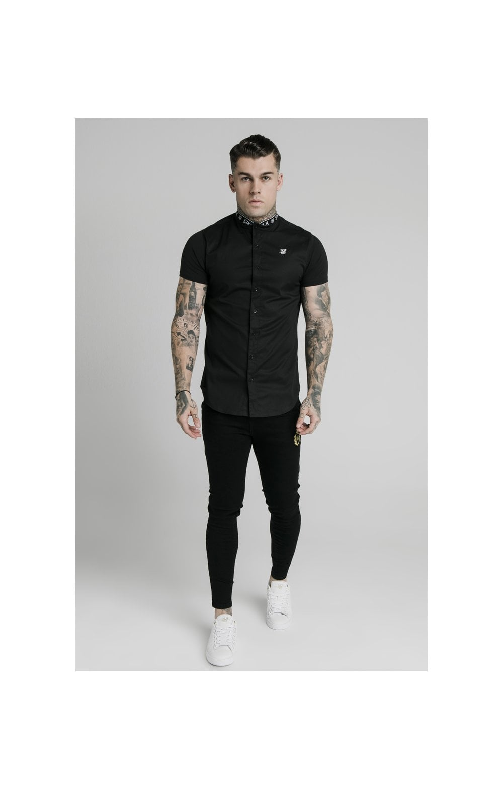 SikSilk S/S Tape Collar Shirt - Black