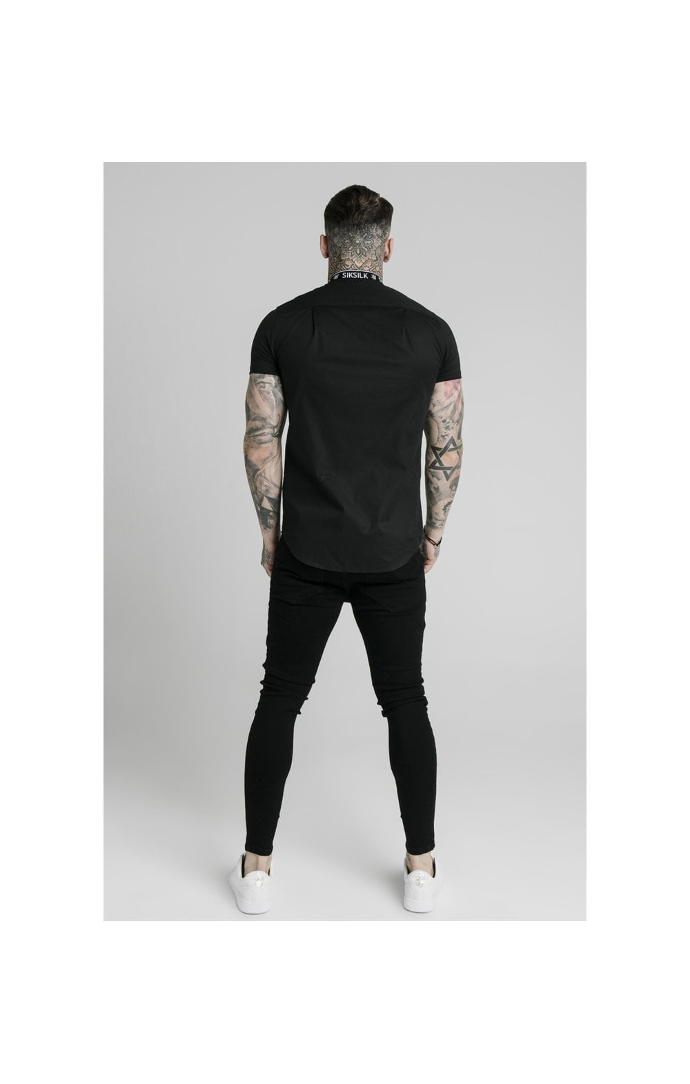 SikSilk S/S Tape Collar Shirt - Black (4)
