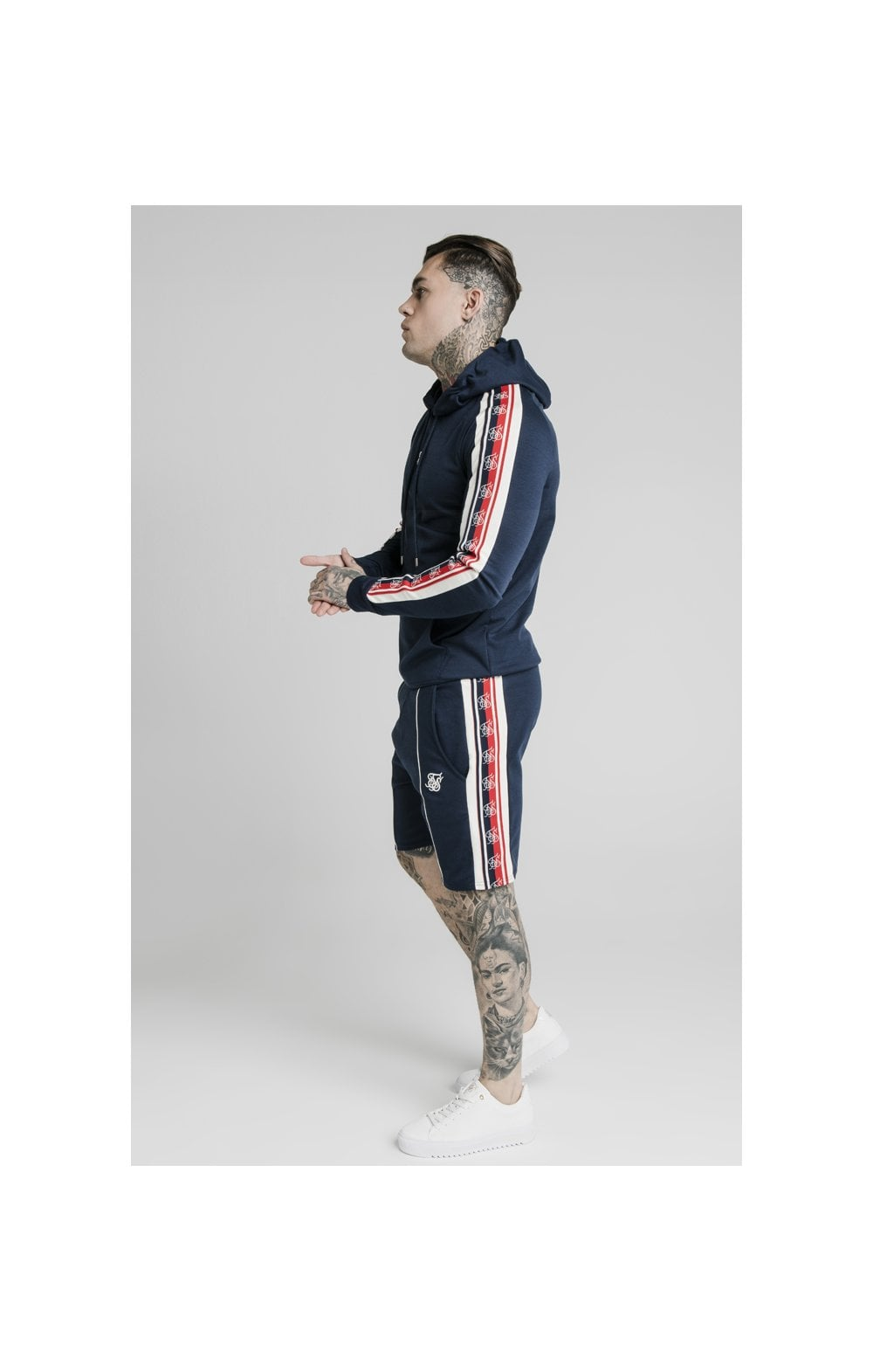 Load image into Gallery viewer, SikSilk Retro Tape Overhead Hoodie - Navy (2)