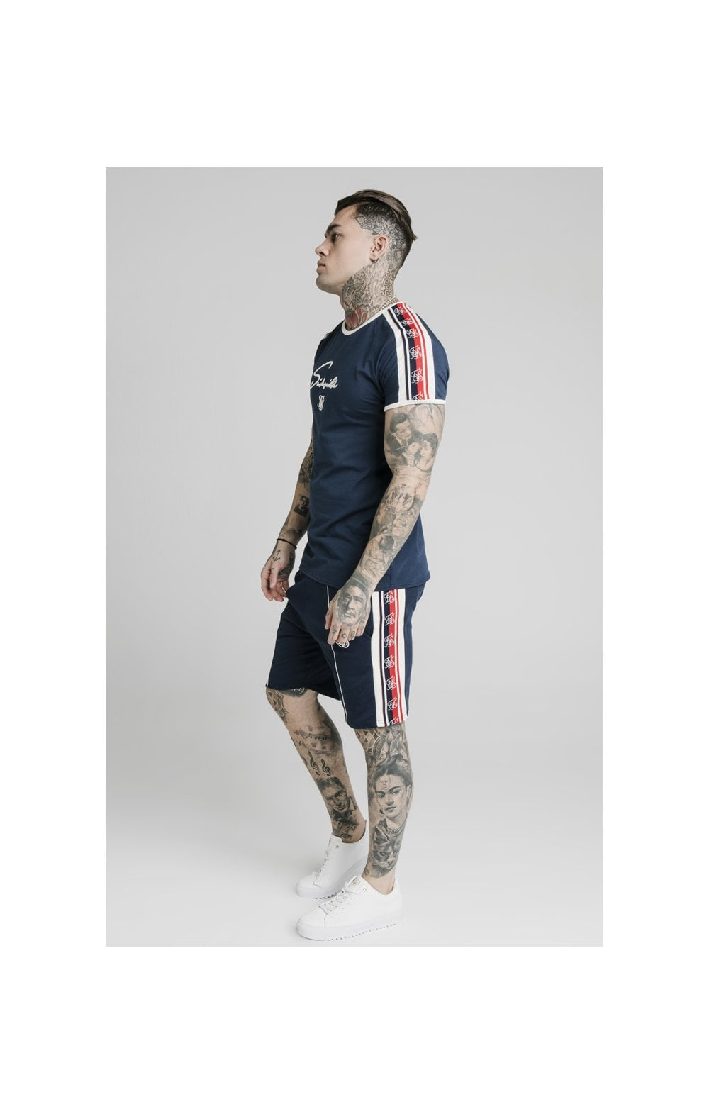 SikSilk Retro Tape Gym Tee - Navy (5)