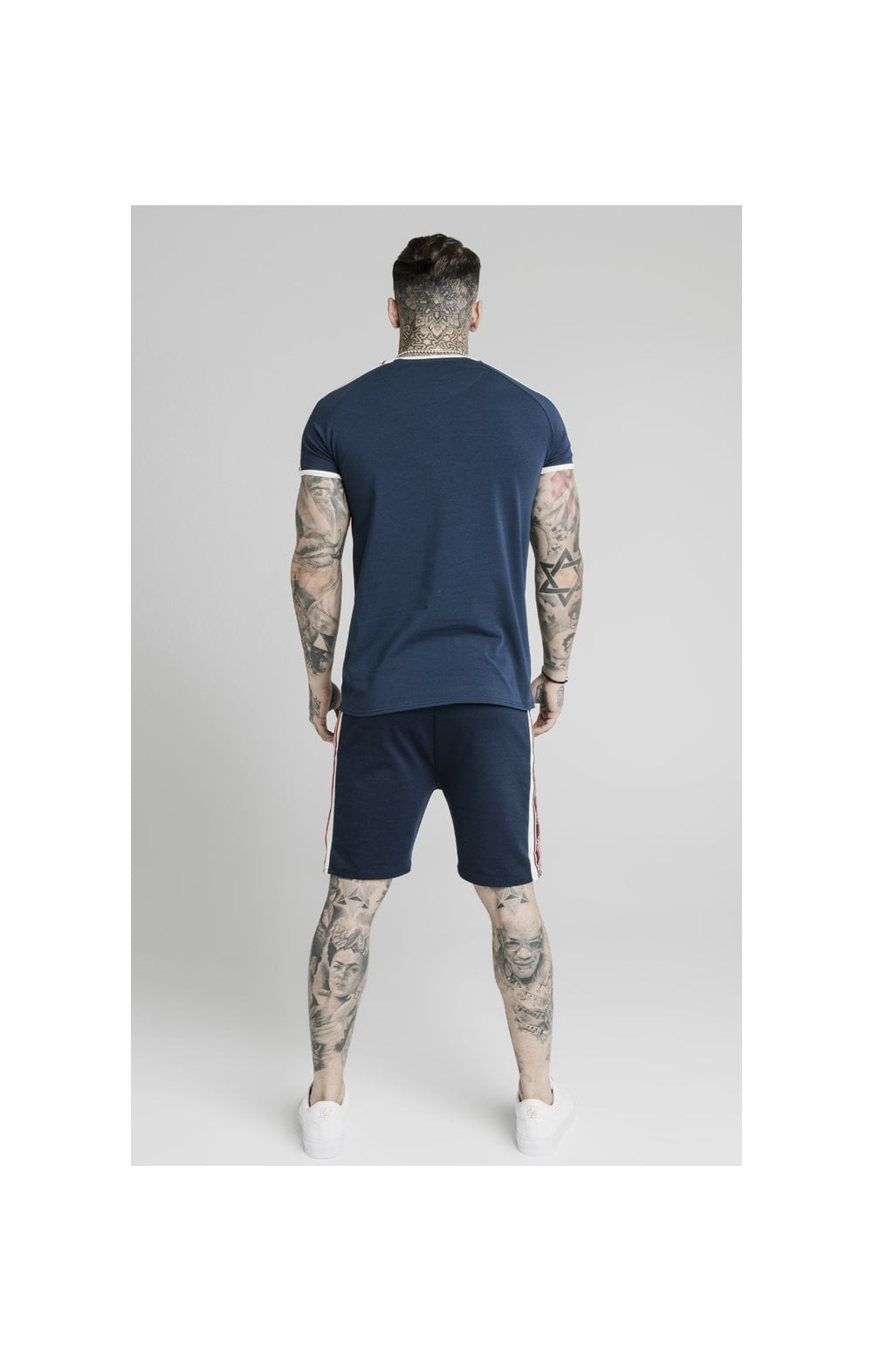 SikSilk Retro Tape Gym Tee - Navy (6)