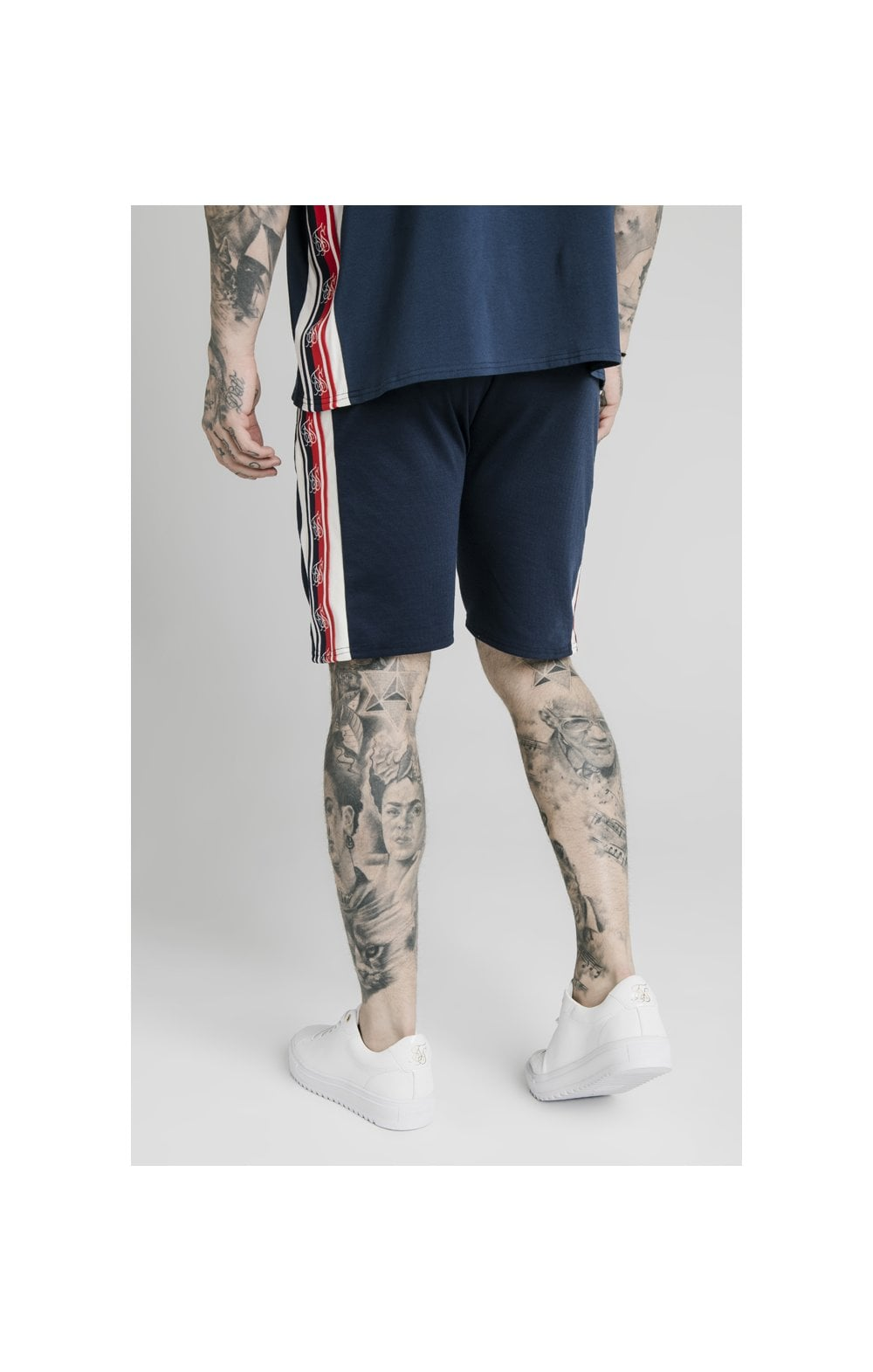 SikSilk Retro Tape Relaxed Fit Shorts - Navy (5)