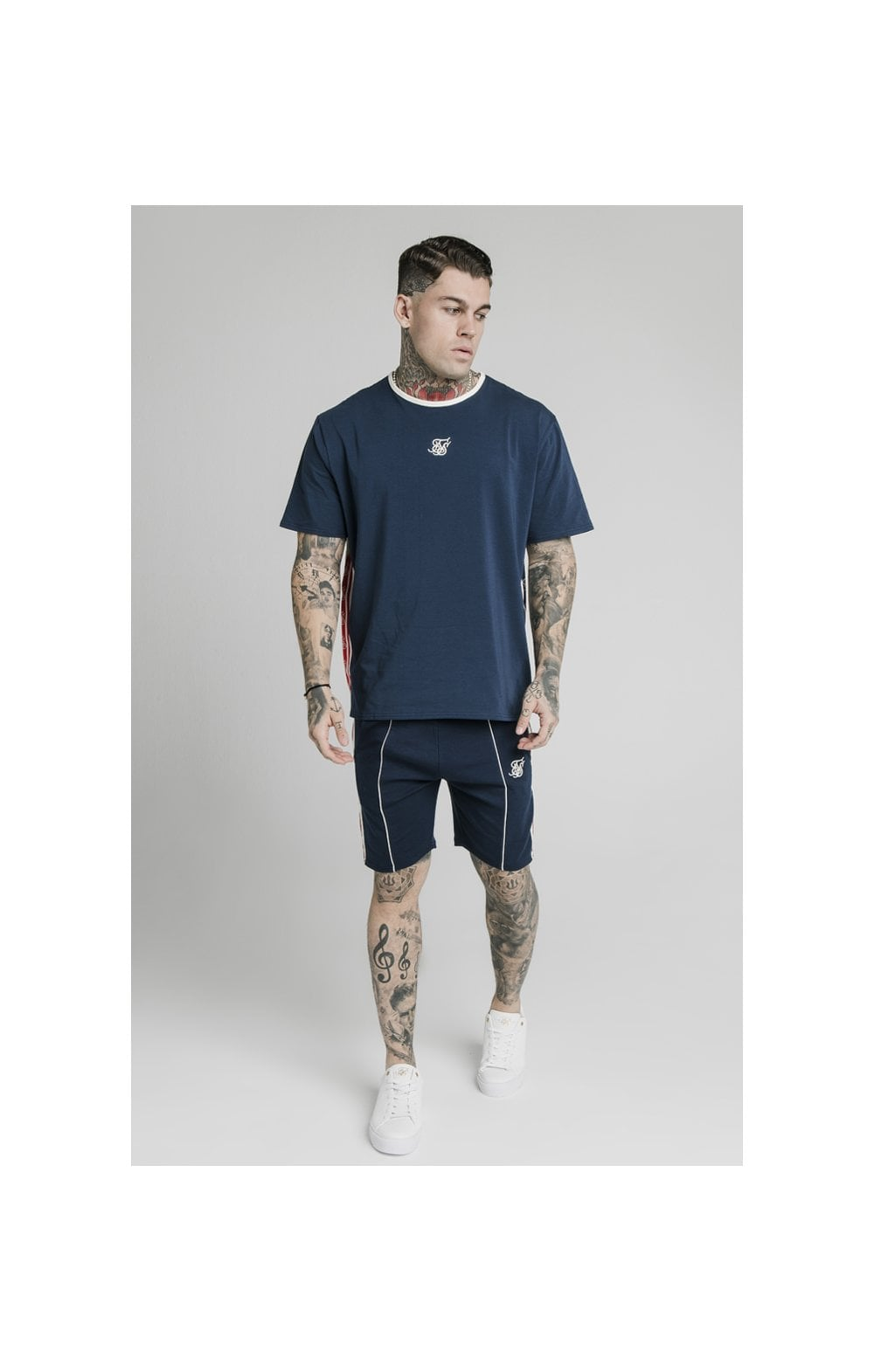 SikSilk Retro Tape Relaxed Fit Shorts - Navy (6)