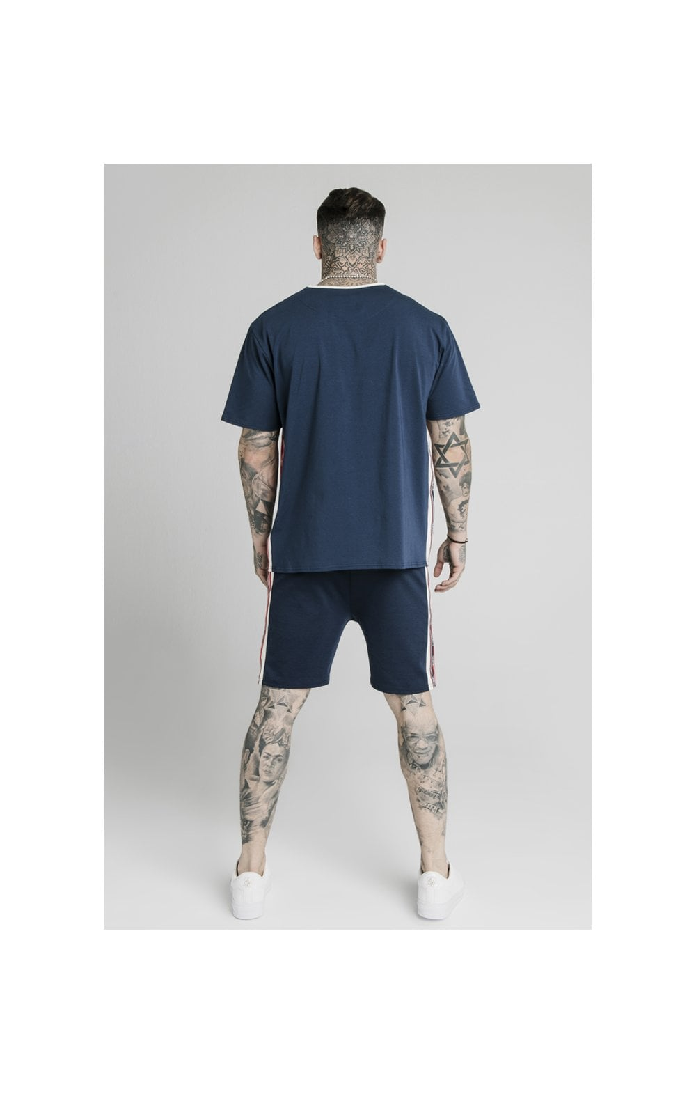 SikSilk Retro Tape Relaxed Fit Shorts - Navy (7)