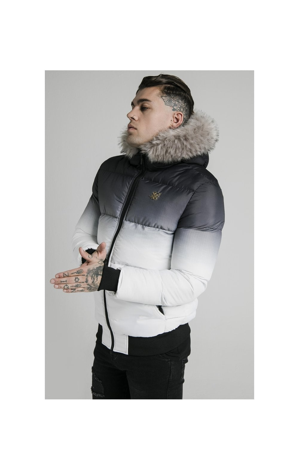 SikSilk Rip Stop Distance Jacket - Black & White