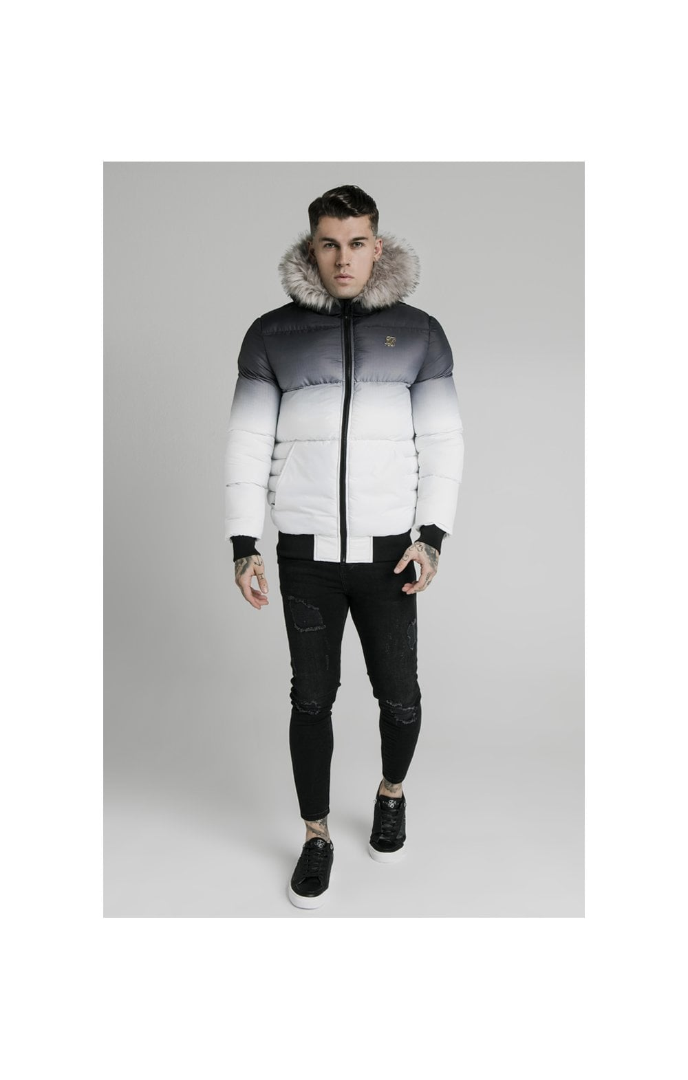 SikSilk Rip Stop Distance Jacket - Black & White (2)