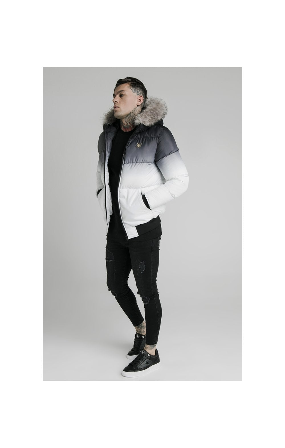SikSilk Rip Stop Distance Jacket - Black & White (3)