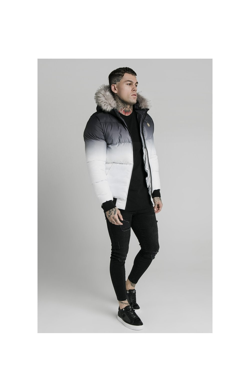 SikSilk Rip Stop Distance Jacket - Black & White (4)