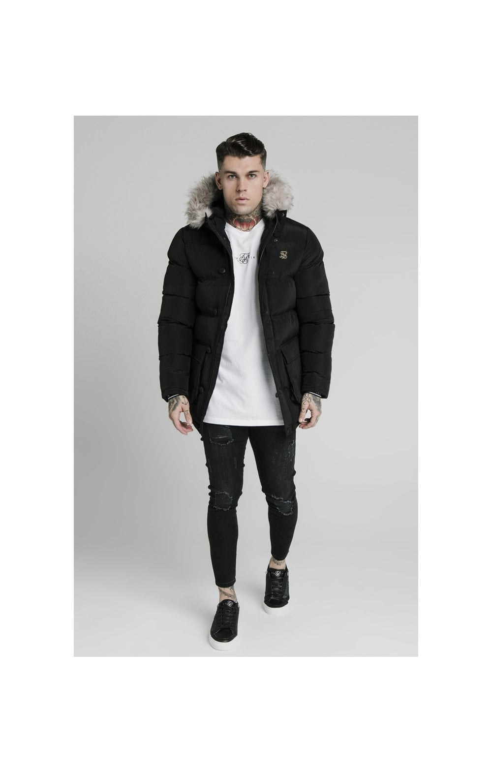Load image into Gallery viewer, SikSilk Rip Stop Puff Parka - Black