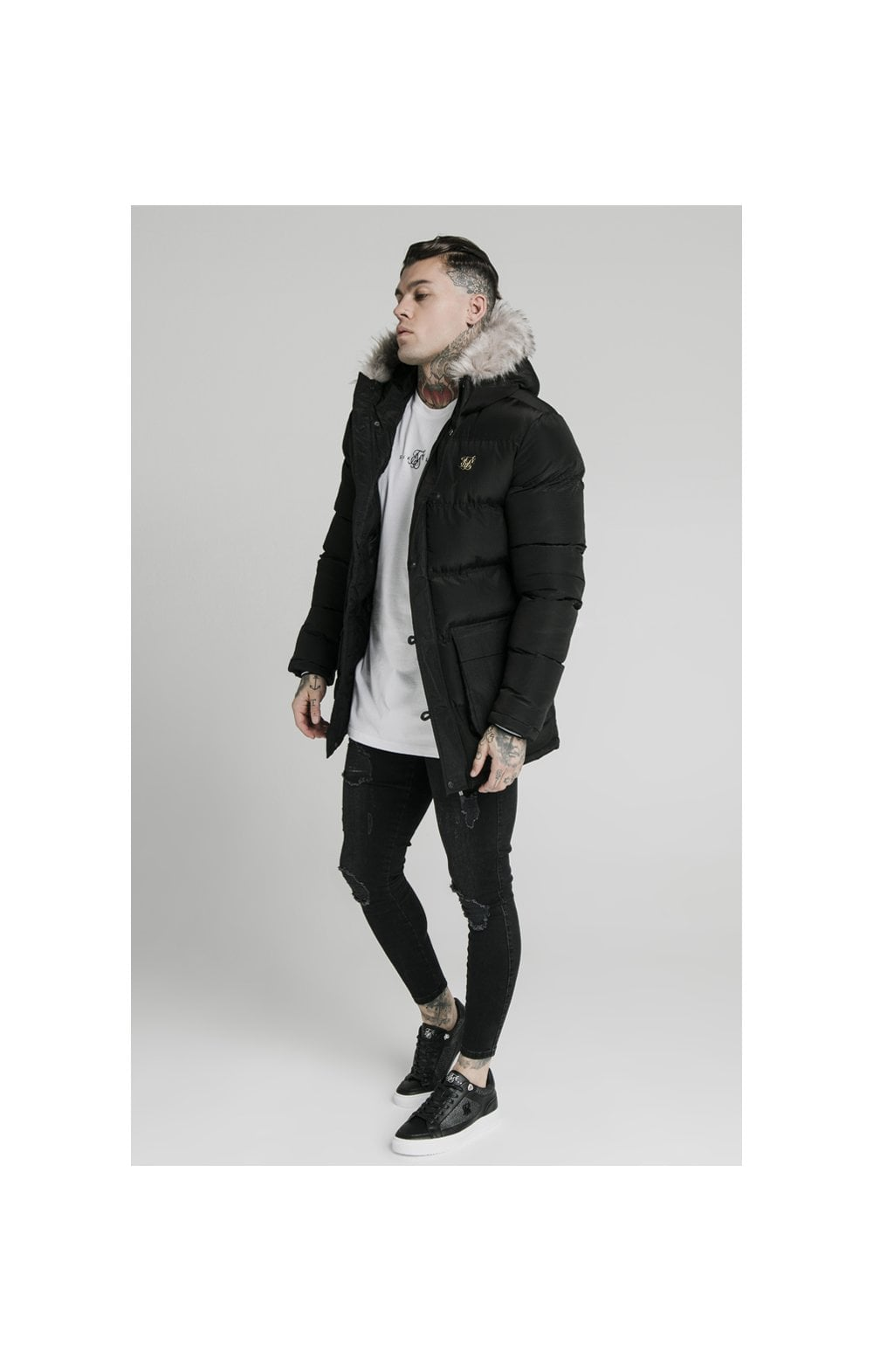 Load image into Gallery viewer, SikSilk Rip Stop Puff Parka - Black (2)