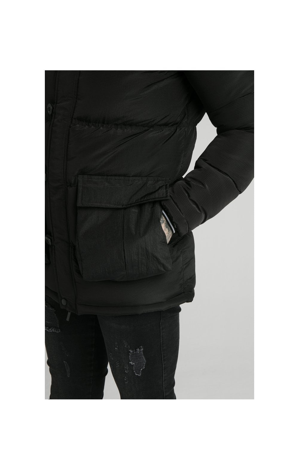 Load image into Gallery viewer, SikSilk Rip Stop Puff Parka - Black (3)