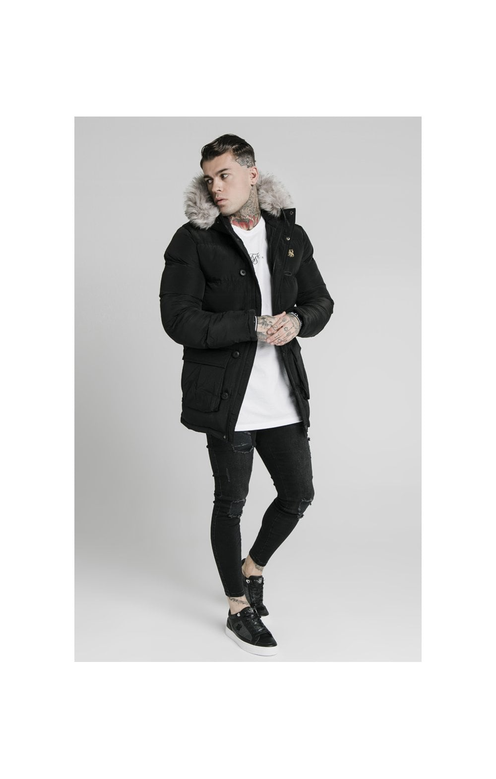 Load image into Gallery viewer, SikSilk Rip Stop Puff Parka - Black (4)