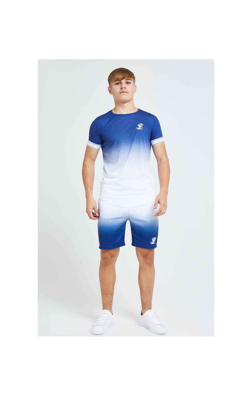 Illusive London Fade Poly Shorts - Indigo & White (1)