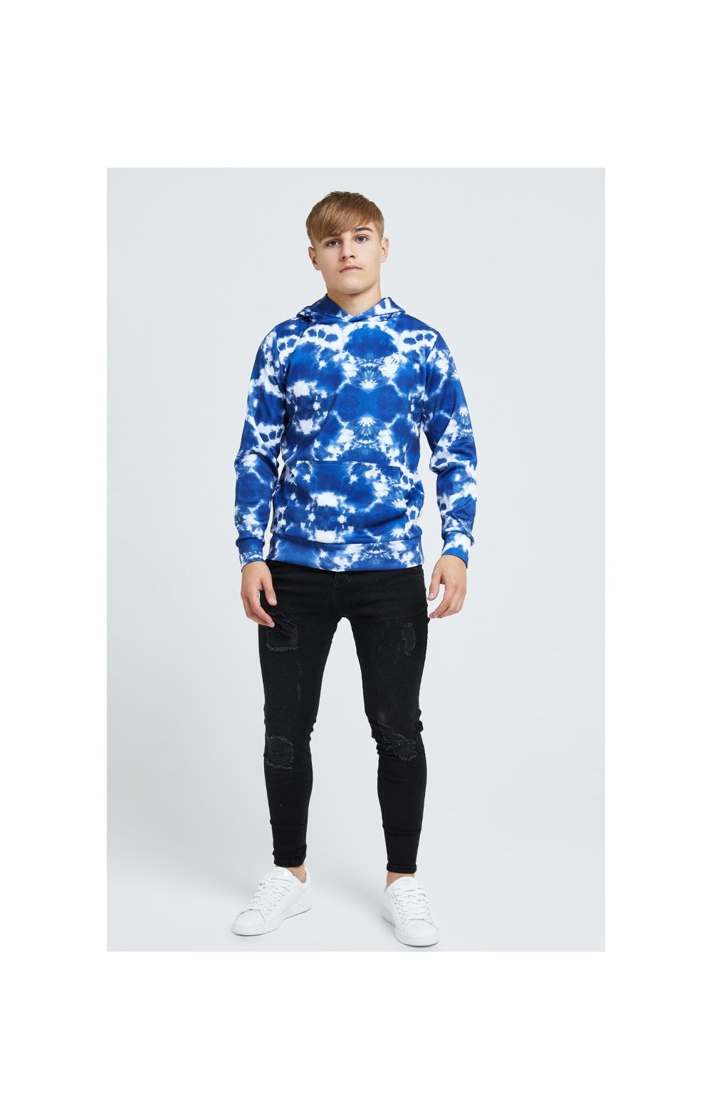 Illusive London Tie Dye Print Hoodie - Blue & White (2)