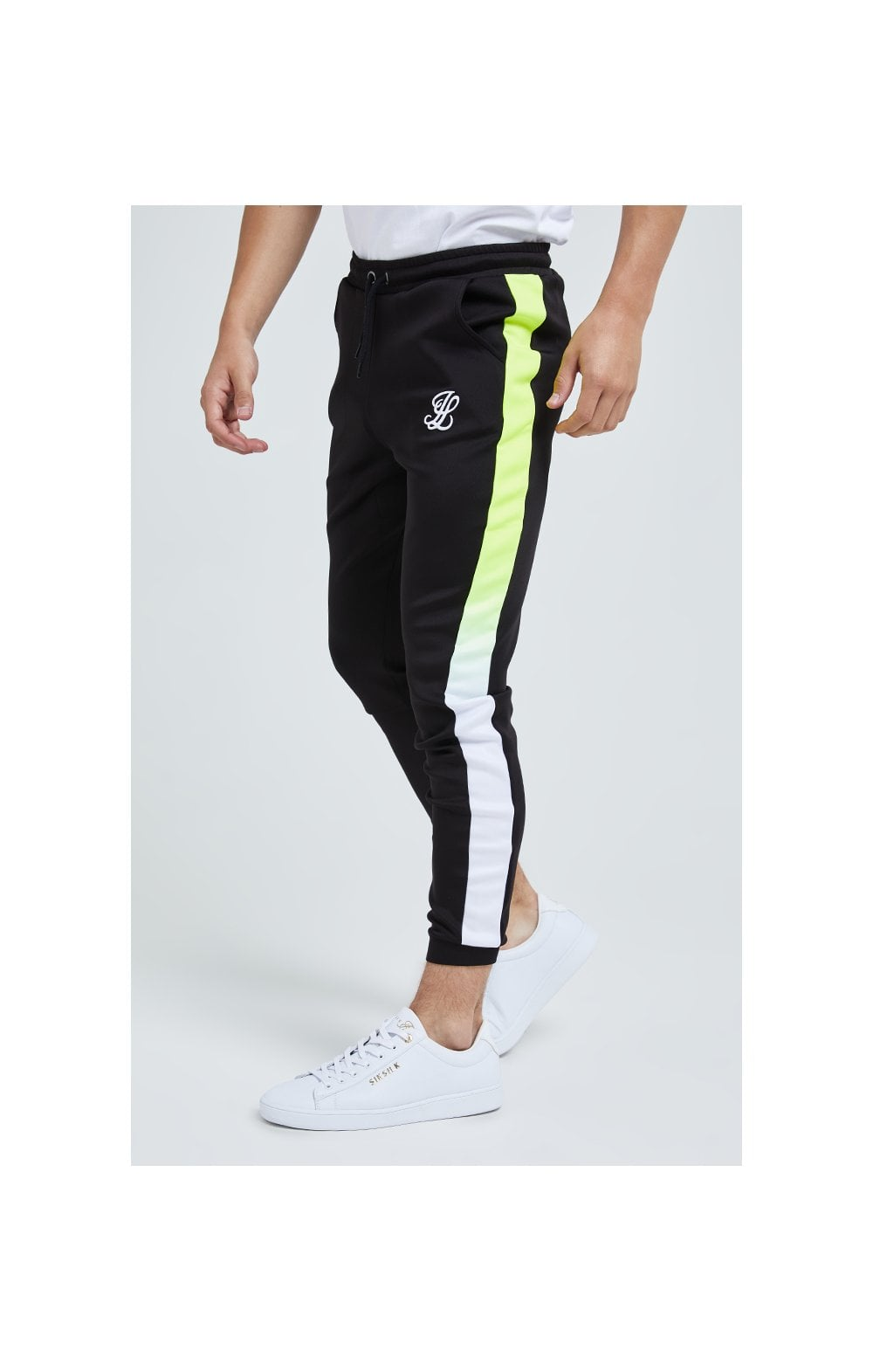 Illusive London Fade Panel Jogger - Black, White & Neon Yellow