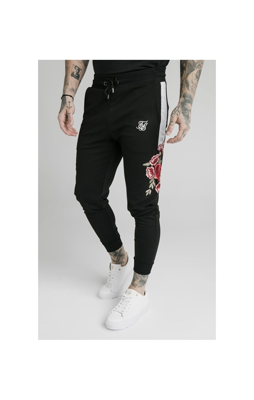 SikSilk Appliqu�� Panelled Fitted Joggers - Black