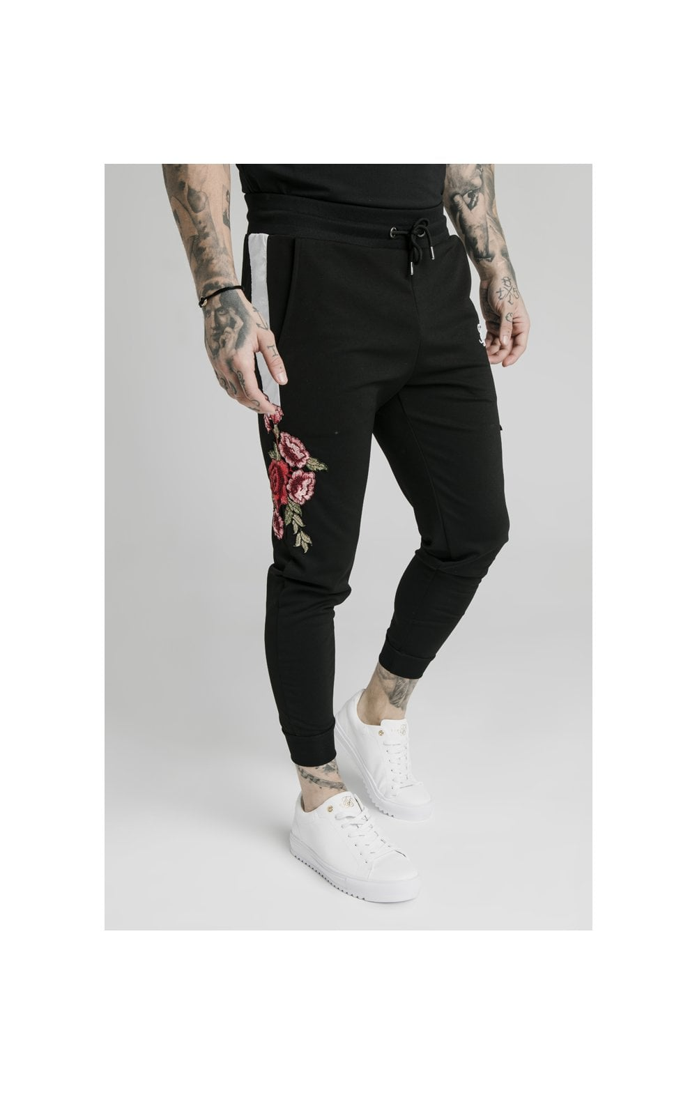 SikSilk Appliqu�� Panelled Fitted Joggers - Black (3)