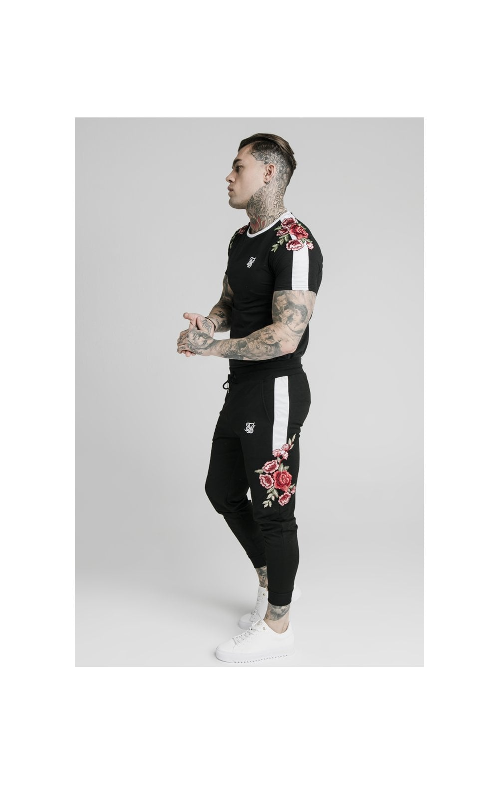 SikSilk Appliqu�� Panelled Fitted Joggers - Black (4)