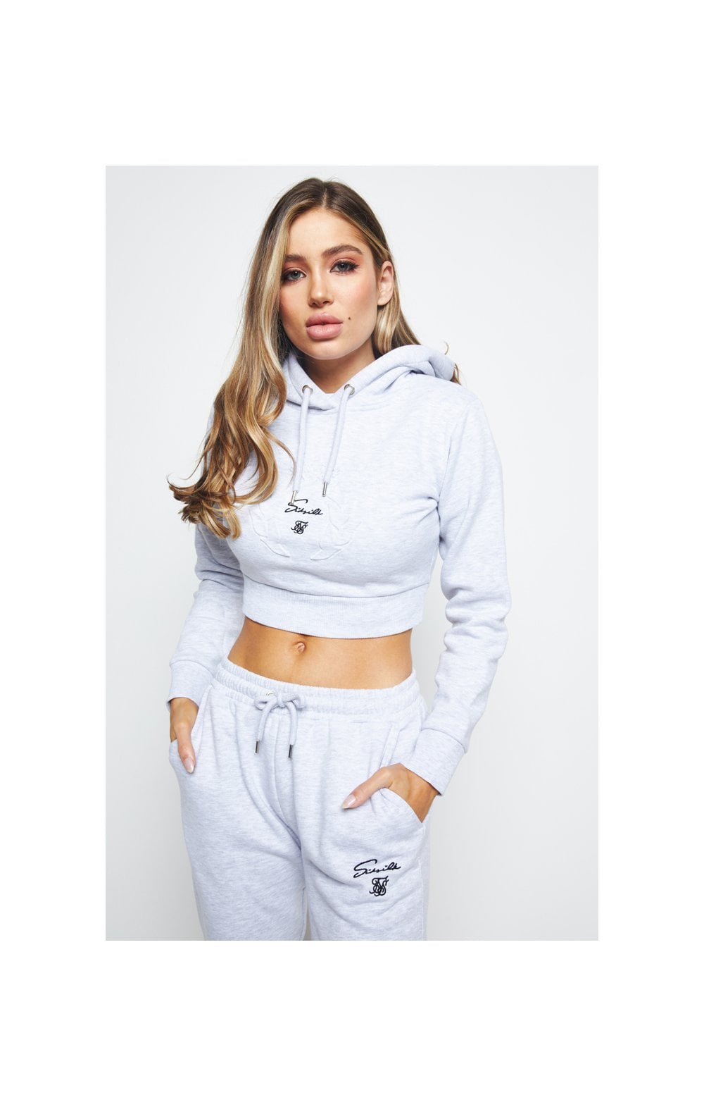 Load image into Gallery viewer, SikSilk Prestige Cropped Hoodie - Grey Marl