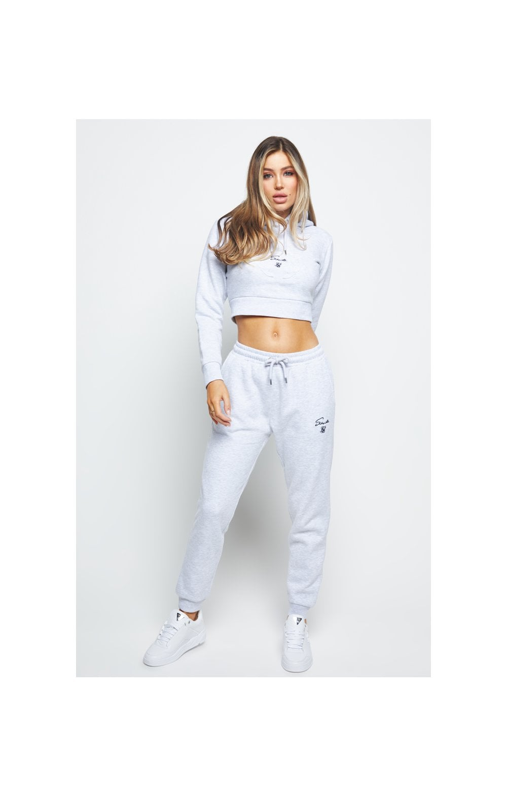 Load image into Gallery viewer, SikSilk Prestige Cropped Hoodie - Grey Marl (4)