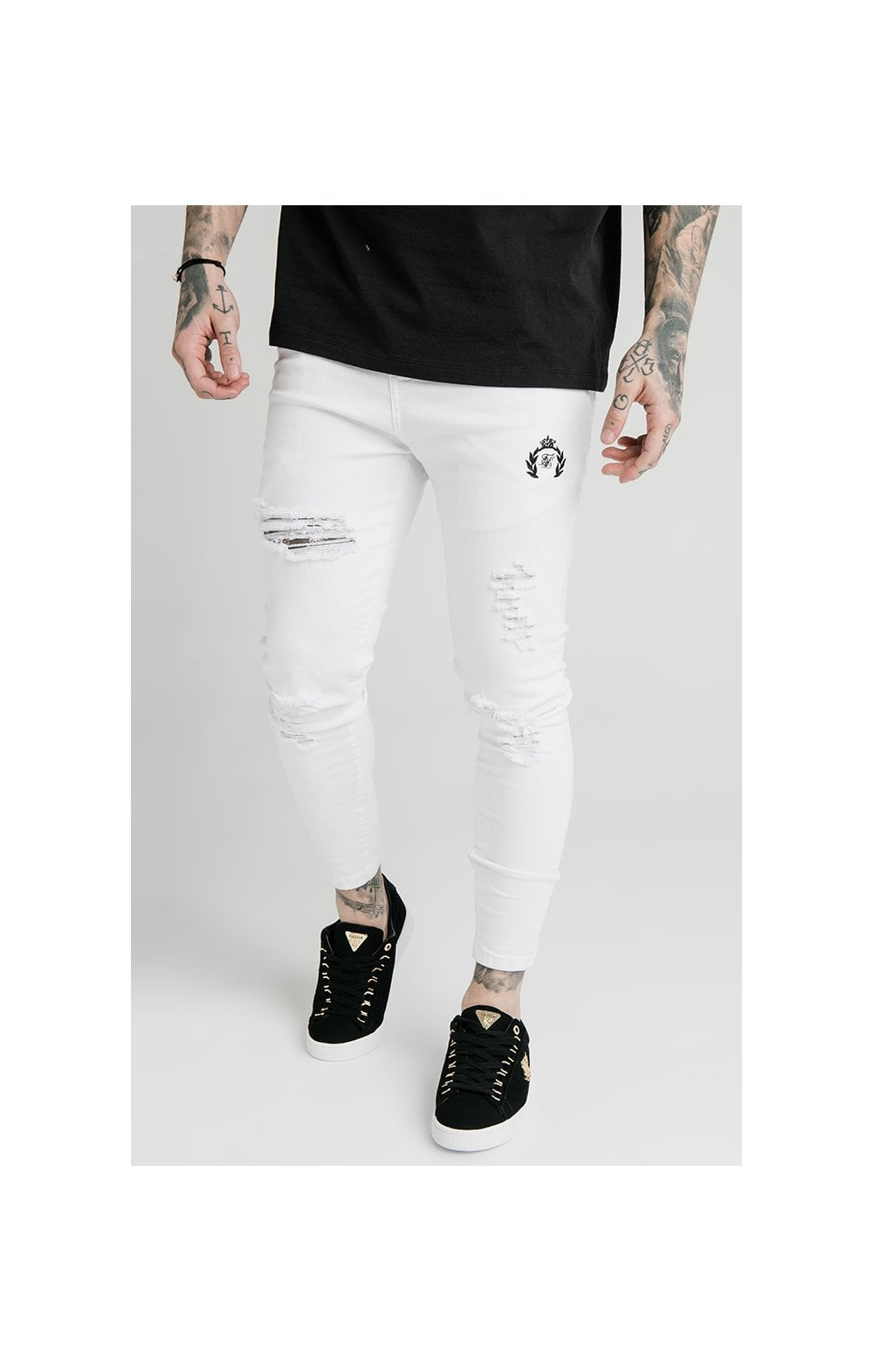 Load image into Gallery viewer, SikSilk Distressed Prestige Skinny Denims - White
