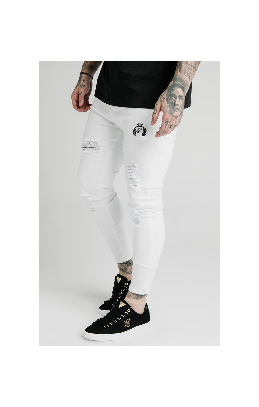 Load image into Gallery viewer, SikSilk Distressed Prestige Skinny Denims - White (1)