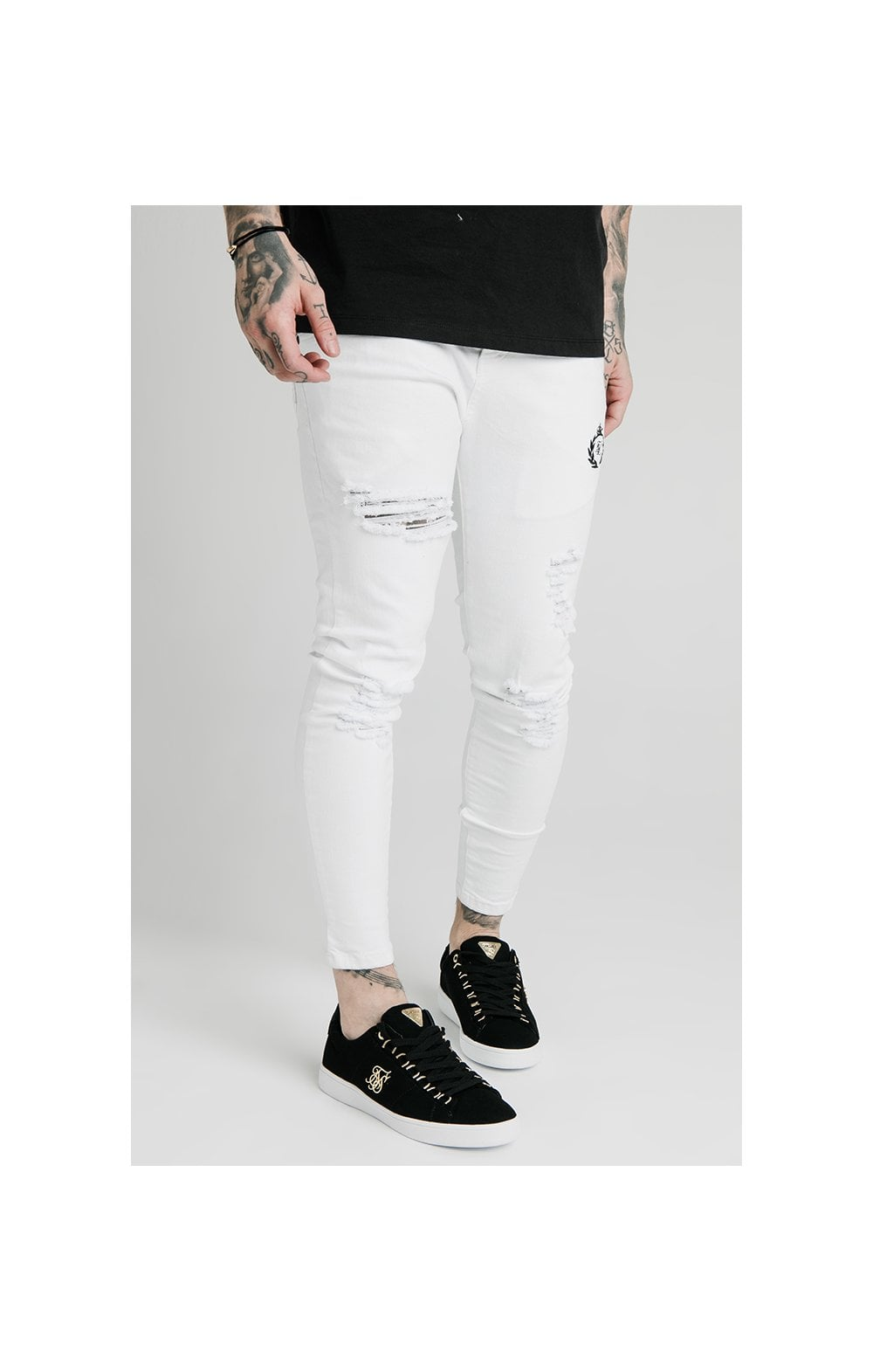 Load image into Gallery viewer, SikSilk Distressed Prestige Skinny Denims - White (2)